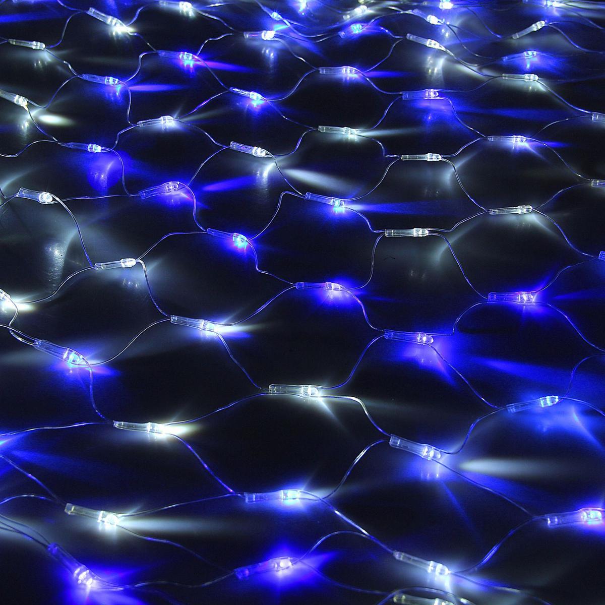 Гирлянда Luazon Сетка, длина 1,1 м, LED 144 ламп, 220V, цвет: бело-синий1080494Светодиодные гирлянды, ленты и т.д — это отличный вариант для новогоднего оформления интерьера или фасада. С их помощью помещение любого размера можно превратить в праздничный зал, а внешние элементы зданий, украшенные ими, мгновенно станут напоминать очертания сказочного дворца. Такие украшения создают ауру предвкушения чуда. Деревья, фасады, витрины, окна и арки будто специально созданы, чтобы вы украсили их светящимися нитями.