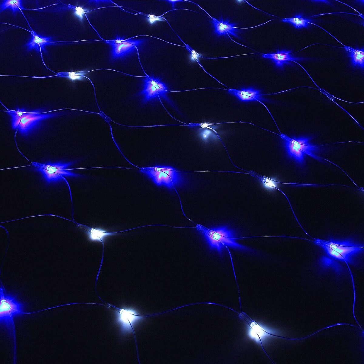 Гирлянда Luazon Сетка, длина 1,5 м, LED 240 ламп, 220V, эффект мерцания, цвет: сине-белый1080506Светодиодные гирлянды, ленты и т.д — это отличный вариант для новогоднего оформления интерьера или фасада. С их помощью помещение любого размера можно превратить в праздничный зал, а внешние элементы зданий, украшенные ими, мгновенно станут напоминать очертания сказочного дворца. Такие украшения создают ауру предвкушения чуда. Деревья, фасады, витрины, окна и арки будто специально созданы, чтобы вы украсили их светящимися нитями.