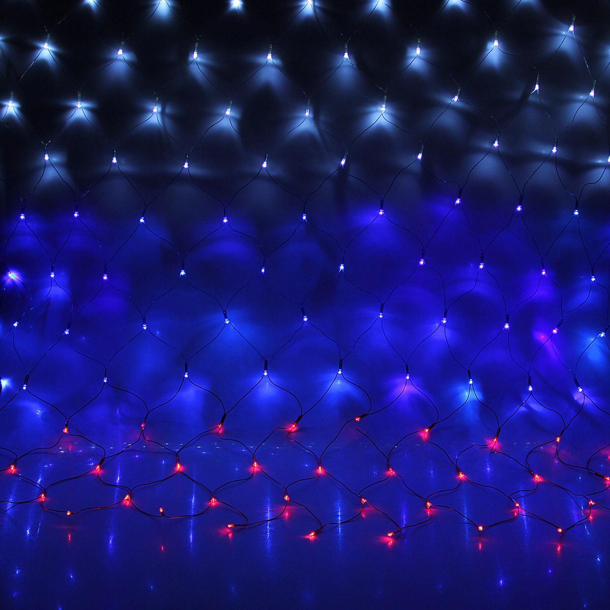 Гирлянда Luazon Сетка, длина 1,6 м, LED 144 ламп, 220V, цвет: триколор1585762Светодиодные гирлянды, ленты и т.д — это отличный вариант для новогоднего оформления интерьера или фасада. С их помощью помещение любого размера можно превратить в праздничный зал, а внешние элементы зданий, украшенные ими, мгновенно станут напоминать очертания сказочного дворца. Такие украшения создают ауру предвкушения чуда. Деревья, фасады, витрины, окна и арки будто специально созданы, чтобы вы украсили их светящимися нитями.
