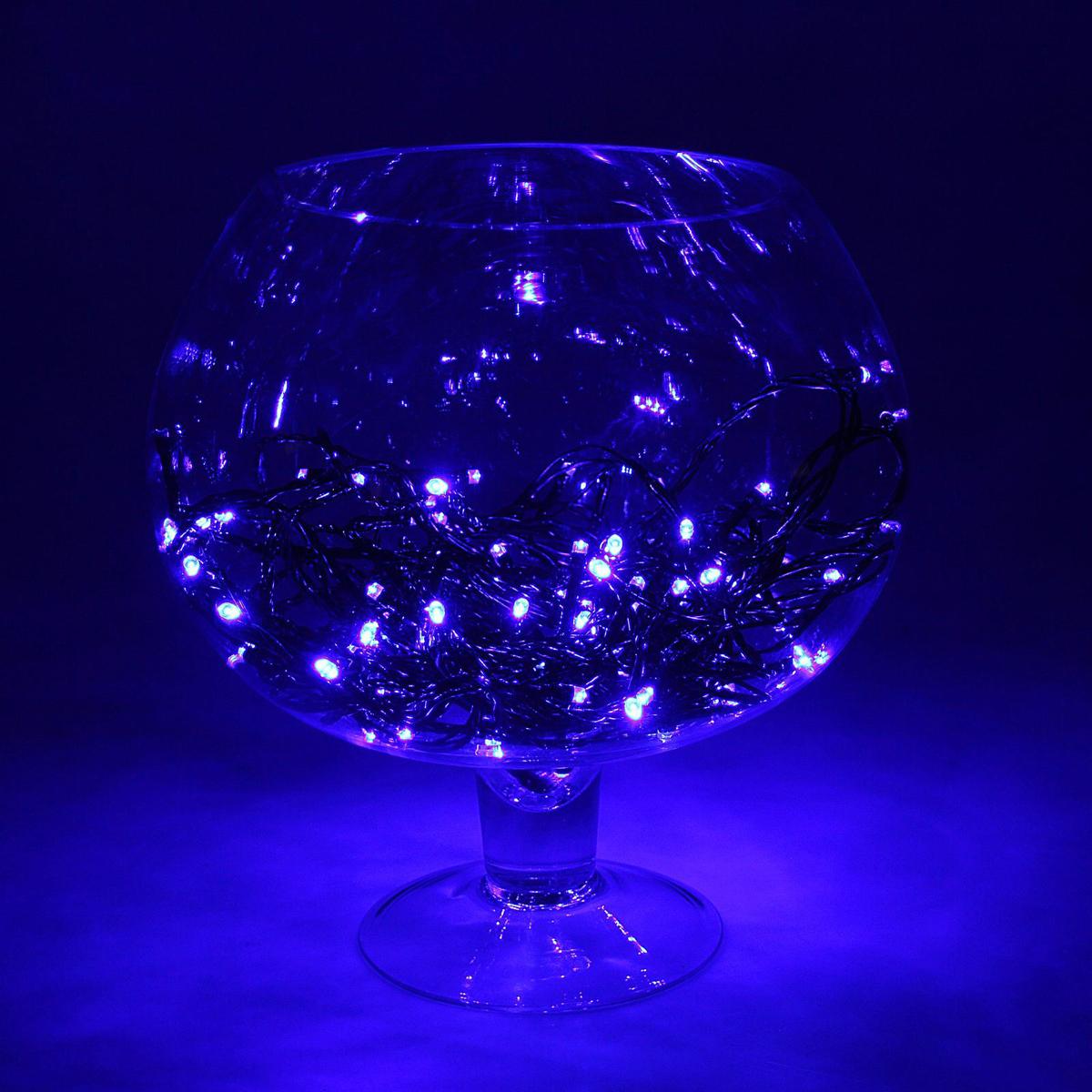 Гирлянда Luazon Метраж, длина 10 м, LED 100 ламп, 24В, цвет: синий. 1672032 гирлянда luazon спайдер led 600 24в 20m multicolor 1586037