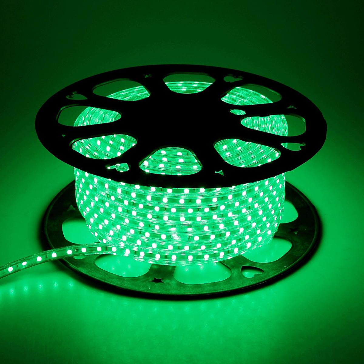 Светодиодная лента Sima-land, 220V, SMD5050, IP68, 60 LED ламп/м, 10,8W/м, длина 50 м, цвет: зеленый185472Светодиодные гирлянды, ленты и т.д — это отличный вариант для новогоднего оформления интерьера или фасада. С их помощью помещение любого размера можно превратить в праздничный зал, а внешние элементы зданий, украшенные ими, мгновенно станут напоминать очертания сказочного дворца. Такие украшения создают ауру предвкушения чуда. Деревья, фасады, витрины, окна и арки будто специально созданы, чтобы вы украсили их светящимися нитями.