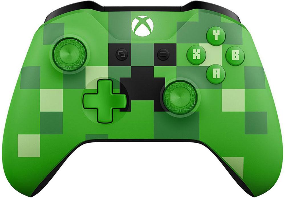 Microsoft Minecraft Creeper беспроводной геймпад для Xbox OneWL3-00057Беспроводной геймпад Xbox - Minecraft Creeper- Узнаваемый дизайн с зеленым Крипером - Кнопки ABXY выполнены со шрифтом Minecraft - Рельефные рукоятки- Назначение кнопок - Технология BluetoothСтрой, копай и создавай предметы с подходящим снаряжением!Отправляйся в увлекательное и опасное путешествие по миру Minecraft с зеленым геймпадом Minecraft Creeper, на котором изображен знакомый всем Крипер. Геймпад оснащен эргономичными рельефными рукоятками, а кнопки ABXY выполнены с классическим шрифтом Minecraft. Назначай кнопки по-своему и играй где угодно, ведь дальность действия увеличилась почти в два раза! Подключай к стереогнезду 3,5 мм любую совместимую гарнитуру. А благодаря технологии Bluetooth® ты можешь играть с этим геймпадом в свои любимые игры на ПК и планшетах с Windows 10*.* Кнопки назначаются с помощью приложения Аксессуары Xbox для Xbox One и Windows 10. Дальность указана по сравнению с предыдущими геймпадами при подключении к консоли Xbox One S. Может потребоваться обновить операционную систему.