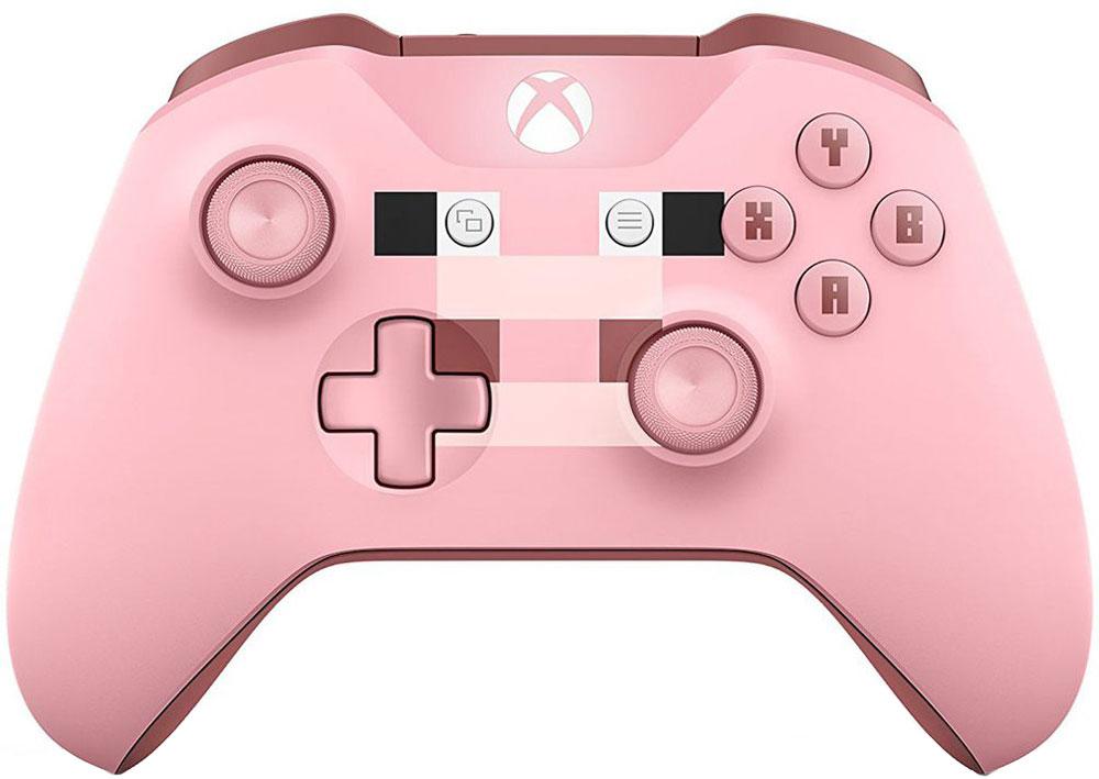 Microsoft Minecraft Pig беспроводной геймпад для Xbox OneWL3-00053Беспроводной геймпад Xbox - Minecraft Creeper- Узнаваемый дизайн c розовой свиньей- Кнопки ABXY выполнены со шрифтом Minecraft - Рельефные рукоятки- Назначение кнопок - Технология BluetoothСтрой, копай и создавай предметы с подходящим снаряжением!Отправляйся в увлекательное и опасное путешествие по миру Minecraft с розовым геймпадом Minecraft Pig, на котором изображена знакомая всем свинья из этой игры. Геймпад оснащен эргономичными рельефными рукоятками, а кнопки ABXY выполнены с классическим шрифтом Minecraft. Назначай кнопки по-своему и играй где угодно, ведь дальность действия увеличилась почти в два раза! Подключай к стереогнезду 3,5 мм любую совместимую гарнитуру. А благодаря технологии Bluetooth® ты можешь играть с этим геймпадом в свои любимые игры на ПК и планшетах с Windows 10** Кнопки назначаются с помощью приложения Аксессуары Xbox для Xbox One и Windows 10. Дальность указана по сравнению с предыдущими геймпадами при подключении к консоли Xbox One S. Может потребоваться обновить операционную систему.