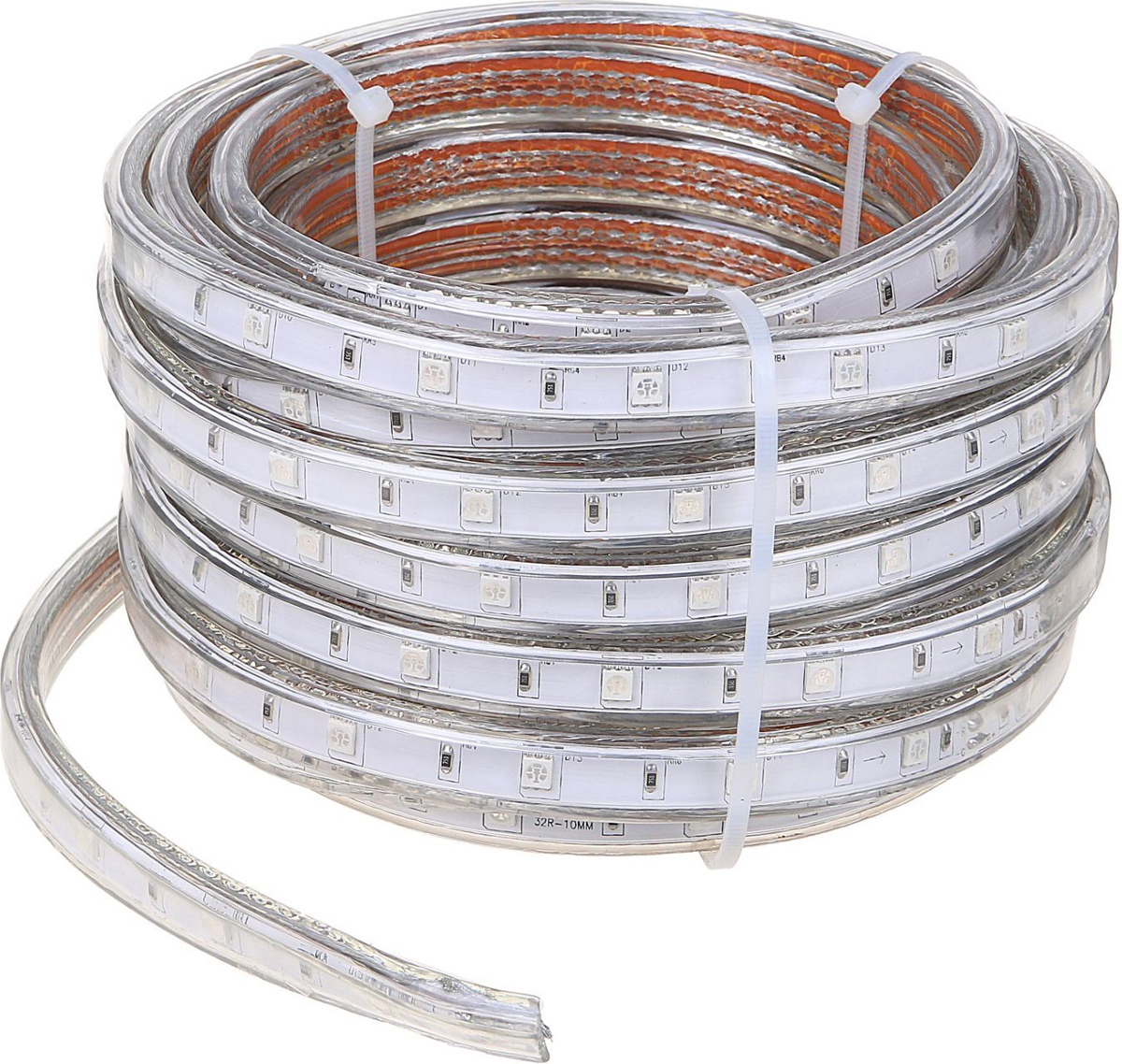Светодиодная лента Ecola, 220 В, RGB, 7.2 Вт, 30 LED ламп, IP68, 10 м2429689Светодиодные гирлянды, ленты и т.д — это отличный вариант для новогоднего оформления интерьера или фасада. С их помощью помещение любого размера можно превратить в праздничный зал, а внешние элементы зданий, украшенные ими, мгновенно станут напоминать очертания сказочного дворца. Такие украшения создают ауру предвкушения чуда. Деревья, фасады, витрины, окна и арки будто специально созданы, чтобы вы украсили их светящимися нитями.