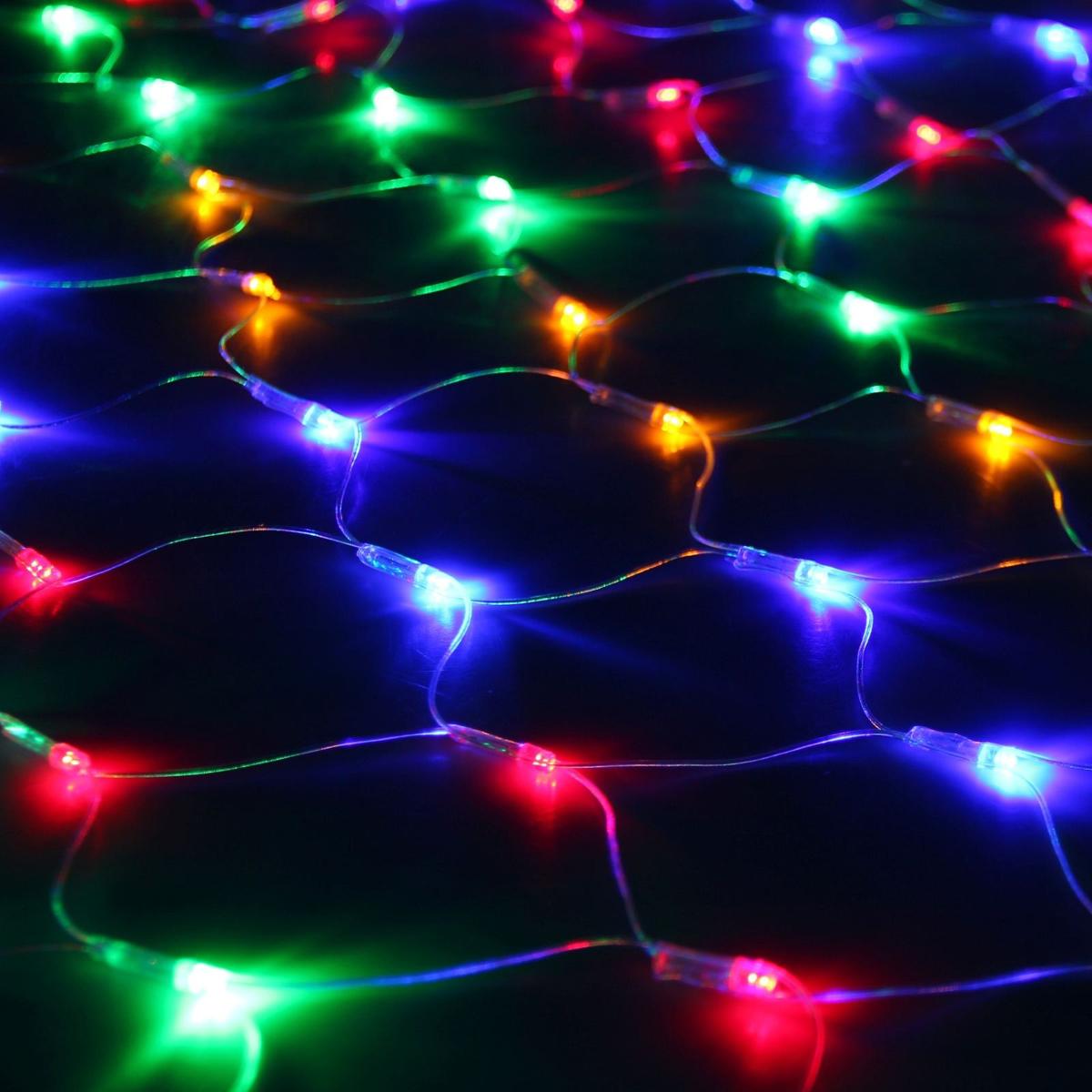 Гирлянда Luazon Сетка, длина 1,1 м, LED 144 ламп, 220V, цвет: мультиколор. 671624671624Светодиодные гирлянды, ленты Luazon Сетка — это отличный вариант для новогоднего оформления интерьера или фасада. С их помощью помещение любого размера можно превратить в праздничный зал, а внешние элементы зданий, украшенные ими, мгновенно станут напоминать очертания сказочного дворца. Такие украшения создают ауру предвкушения чуда. Деревья, фасады, витрины, окна и арки будто специально созданы, чтобы вы украсили их светящимися нитями.