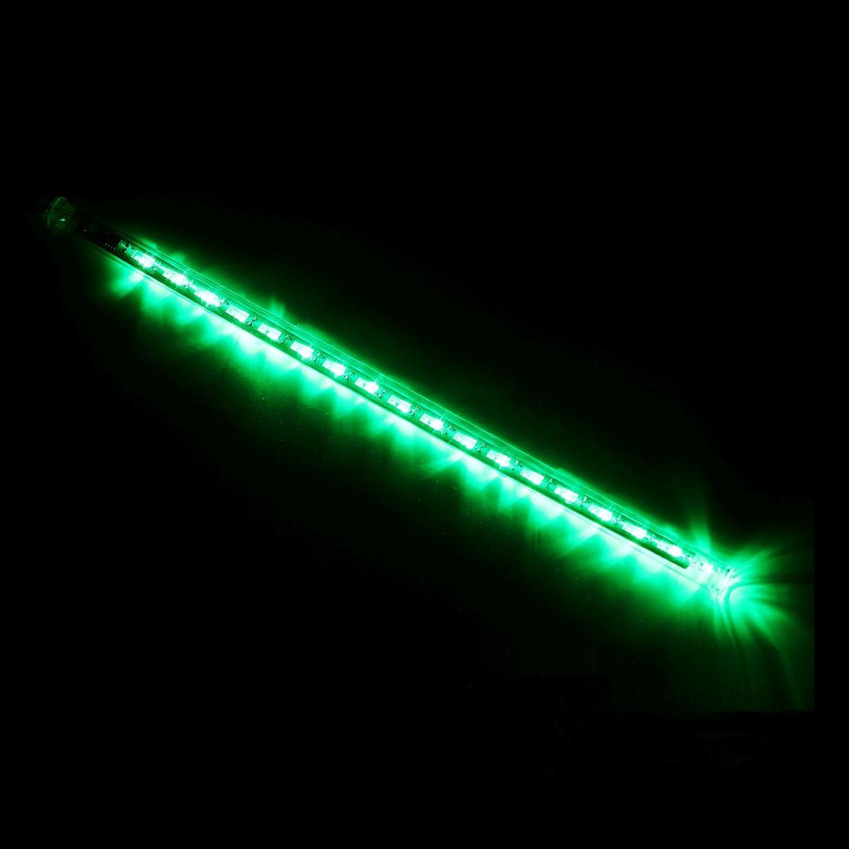 Светодиодная сосулька Luazon Тающая, длина 0,3 м, диаметр 2 см, LED 18 ламп, 220V, цвет: зеленый4670025843713Светодиодные гирлянды, ленты и т.д — это отличный вариант для новогоднего оформления интерьера или фасада. С их помощью помещение любого размера можно превратить в праздничный зал, а внешние элементы зданий, украшенные ими, мгновенно станут напоминать очертания сказочного дворца. Такие украшения создают ауру предвкушения чуда. Деревья, фасады, витрины, окна и арки будто специально созданы, чтобы вы украсили их светящимися нитями.