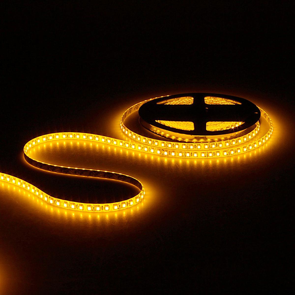 Светодиодная лента Sima-land, 12В, SMD3528, длина 5 м, IP65, 120 LED ламп, 9.6 Вт/м, 6-7 Лм/1 LED, DC, цвет: желтый. 848548848548Светодиодные гирлянды, ленты и т.д — это отличный вариант для новогоднего оформления интерьера или фасада. С их помощью помещение любого размера можно превратить в праздничный зал, а внешние элементы зданий, украшенные ими, мгновенно станут напоминать очертания сказочного дворца. Такие украшения создают ауру предвкушения чуда. Деревья, фасады, витрины, окна и арки будто специально созданы, чтобы вы украсили их светящимися нитями.