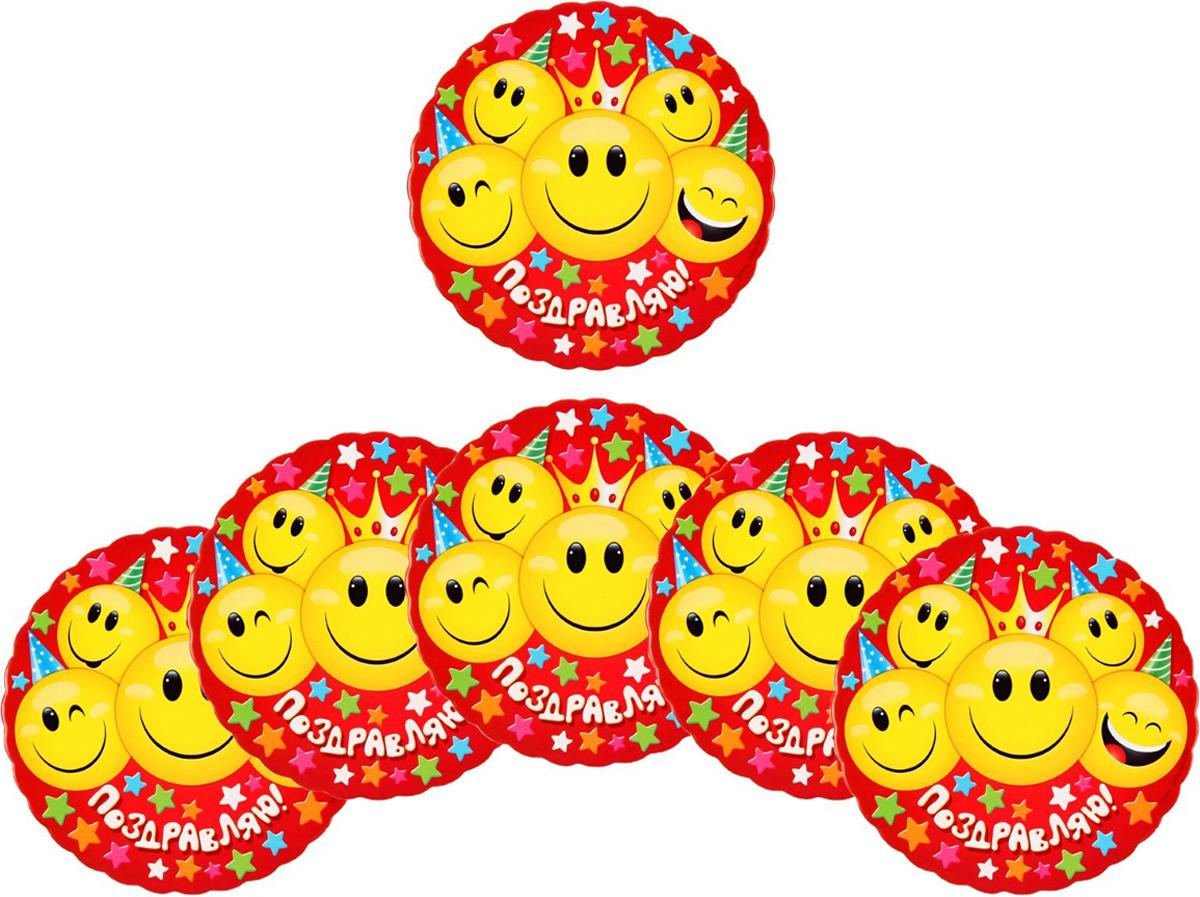 Страна Карнавалия Подставка для стакана Поздравляю! смайлы со звездами 10 х 10 см 6 шт 1029366