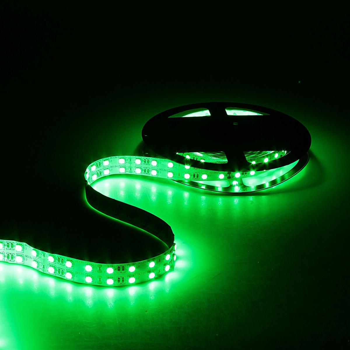 Светодиодная лента Sima-land, 12В, SMD5050, длина 5 м, IP33, 120 LED ламп, 28.8 Вт/м, 10-12 Лм/1 LED, DC, цвет: зеленый848551Светодиодные гирлянды, ленты и т.д — это отличный вариант для новогоднего оформления интерьера или фасада. С их помощью помещение любого размера можно превратить в праздничный зал, а внешние элементы зданий, украшенные ими, мгновенно станут напоминать очертания сказочного дворца. Такие украшения создают ауру предвкушения чуда. Деревья, фасады, витрины, окна и арки будто специально созданы, чтобы вы украсили их светящимися нитями.