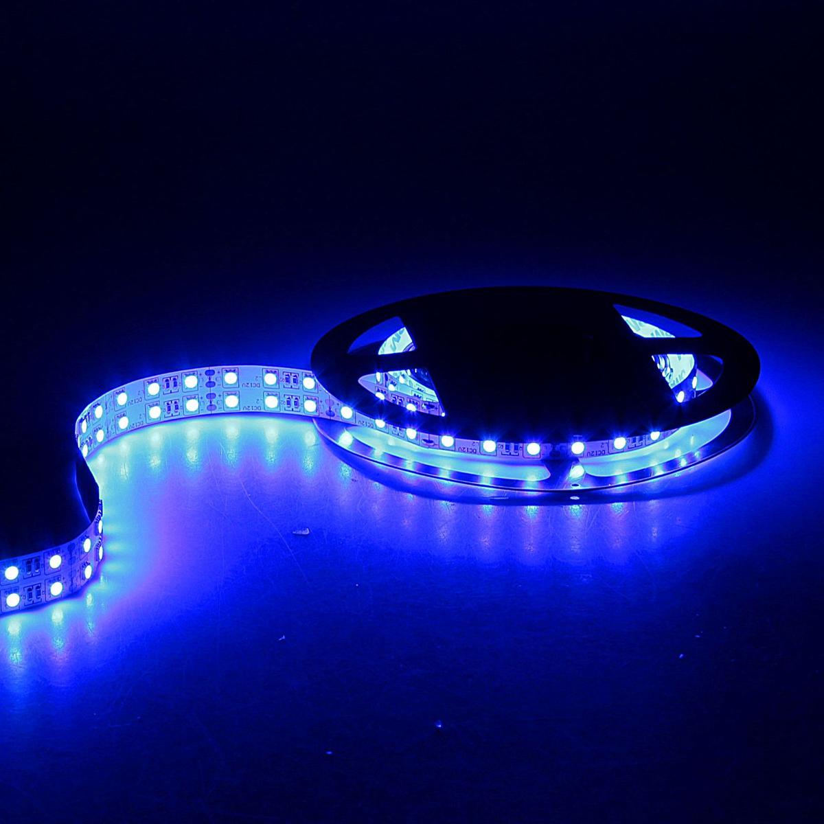Светодиодная лента Sima-land, 12В, SMD5050, длина 5 м, IP33, 120 LED ламп, 28.8 Вт/м, 10-12 Лм/1 LED, DC, цвет: синий848552Светодиодные гирлянды, ленты и т.д — это отличный вариант для новогоднего оформления интерьера или фасада. С их помощью помещение любого размера можно превратить в праздничный зал, а внешние элементы зданий, украшенные ими, мгновенно станут напоминать очертания сказочного дворца. Такие украшения создают ауру предвкушения чуда. Деревья, фасады, витрины, окна и арки будто специально созданы, чтобы вы украсили их светящимися нитями.