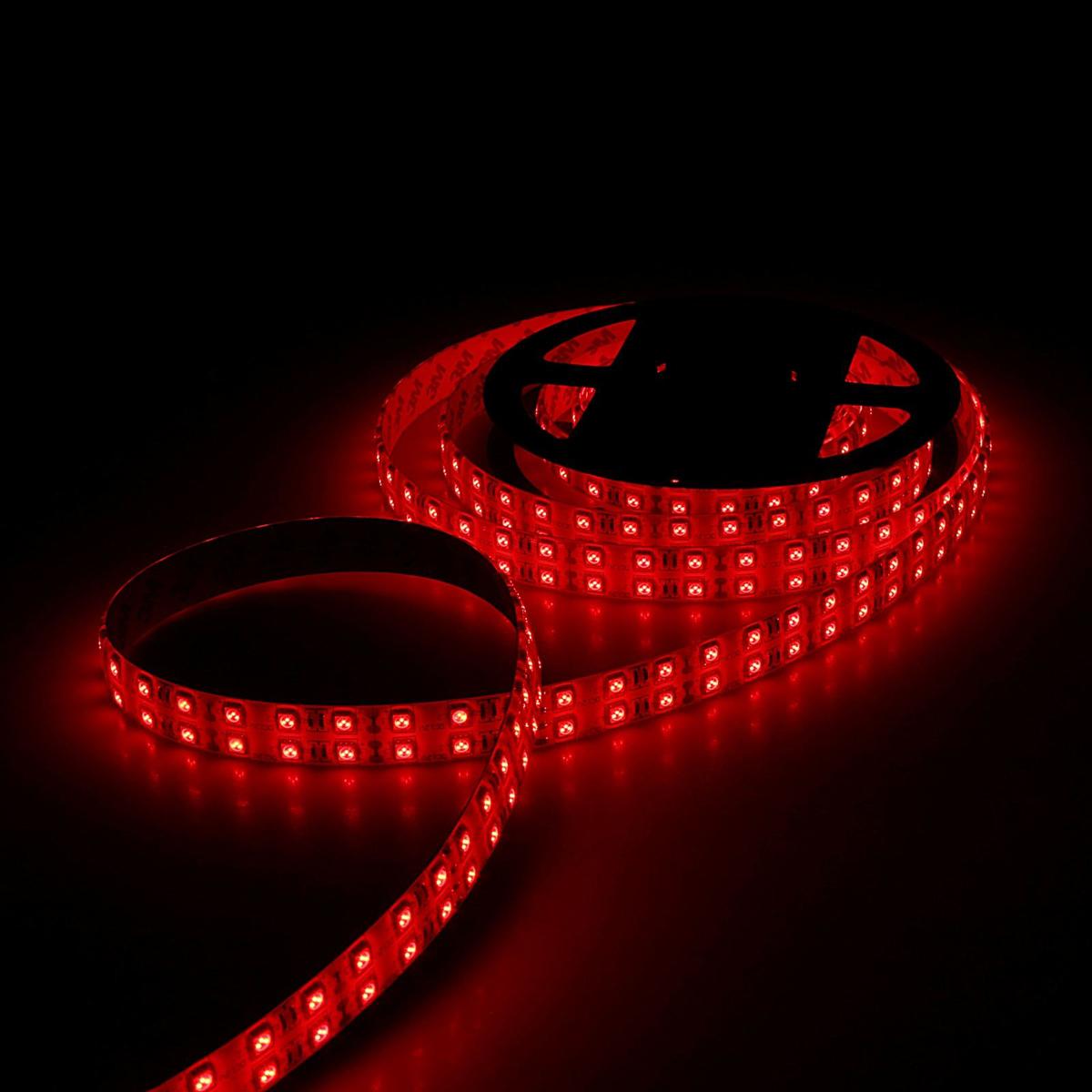 Светодиодная лента Sima-land, 12В, SMD5050, длина 5 м, IP33, 120 LED ламп, 28.8 Вт/м, 10-12 Лм/1 LED, DC, цвет: красный848553Светодиодные гирлянды, ленты и т.д — это отличный вариант для новогоднего оформления интерьера или фасада. С их помощью помещение любого размера можно превратить в праздничный зал, а внешние элементы зданий, украшенные ими, мгновенно станут напоминать очертания сказочного дворца. Такие украшения создают ауру предвкушения чуда. Деревья, фасады, витрины, окна и арки будто специально созданы, чтобы вы украсили их светящимися нитями.
