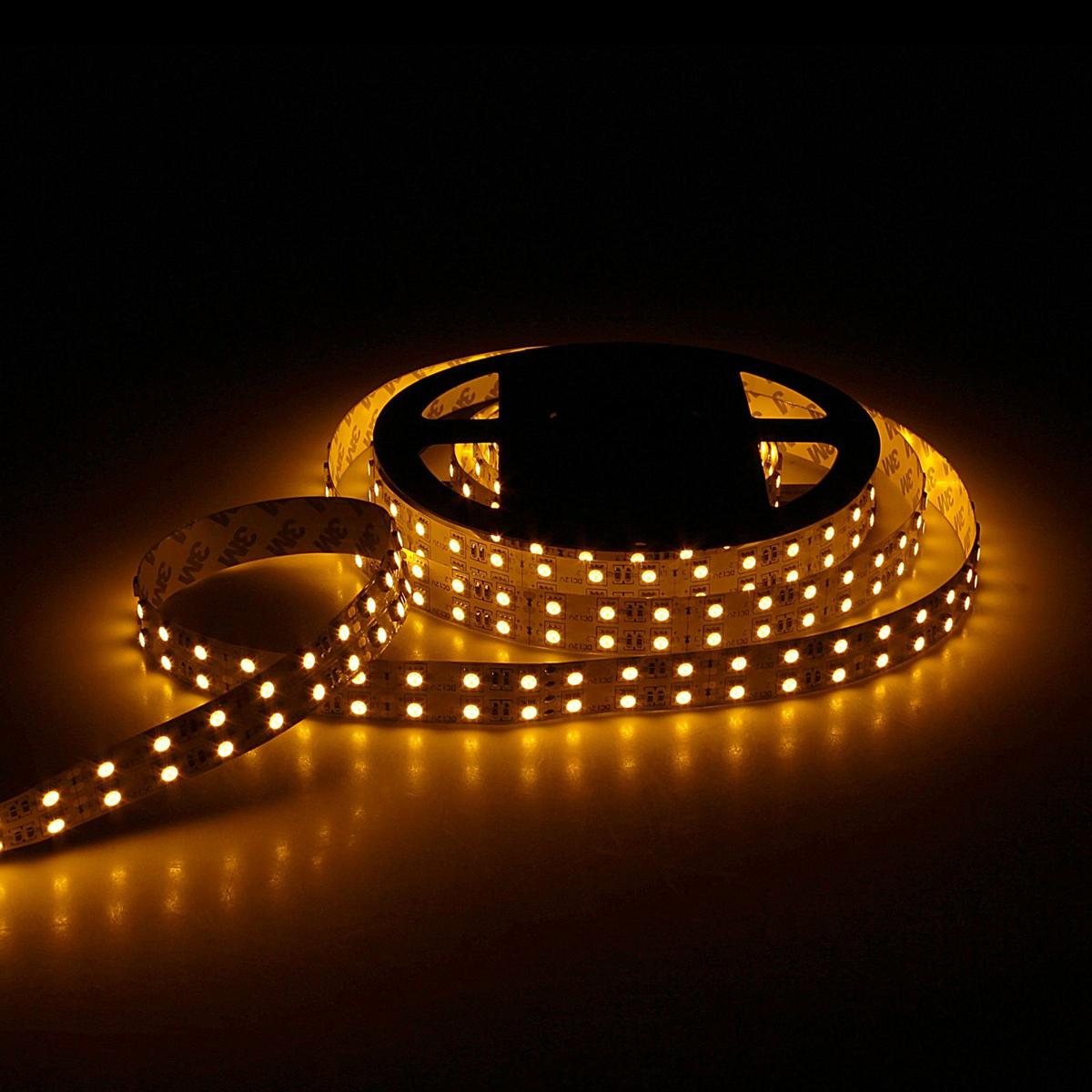 Светодиодная лента Sima-land, 12В, SMD5050, длина 5 м, IP33, 120 LED ламп, 28.8 Вт/м, 10-12 Лм/1 LED, DC, цвет: желтый848554Светодиодные гирлянды, ленты и т.д — это отличный вариант для новогоднего оформления интерьера или фасада. С их помощью помещение любого размера можно превратить в праздничный зал, а внешние элементы зданий, украшенные ими, мгновенно станут напоминать очертания сказочного дворца. Такие украшения создают ауру предвкушения чуда. Деревья, фасады, витрины, окна и арки будто специально созданы, чтобы вы украсили их светящимися нитями.