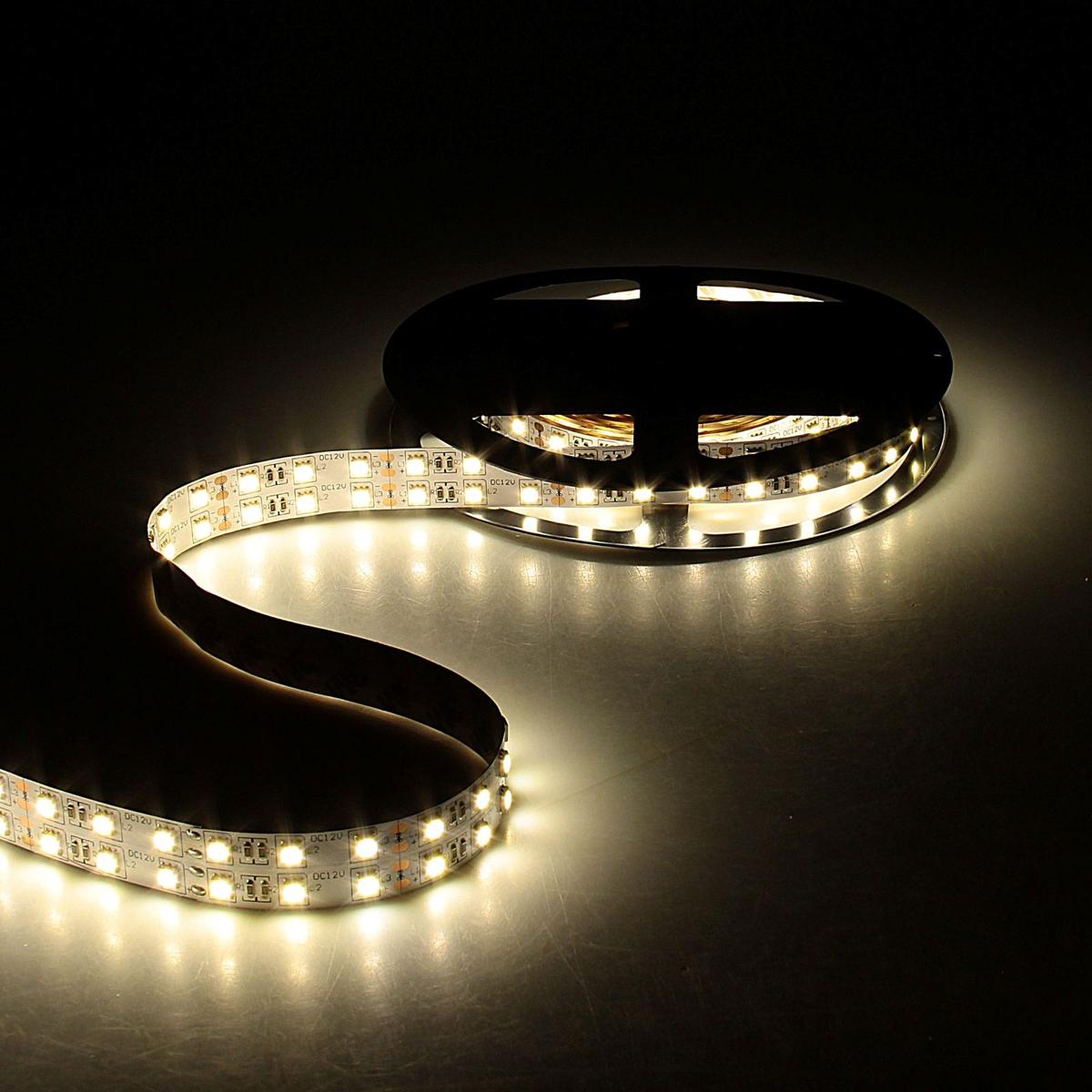 Светодиодная лента Sima-land, 12В SMD5050, длина 5 м, IP33, 120 LED ламп, 28.8Вт/м, 10-12 Лм/1 LED, DC, цвет: теплый белый848555Светодиодные гирлянды, ленты и т.д — это отличный вариант для новогоднего оформления интерьера или фасада. С их помощью помещение любого размера можно превратить в праздничный зал, а внешние элементы зданий, украшенные ими, мгновенно станут напоминать очертания сказочного дворца. Такие украшения создают ауру предвкушения чуда. Деревья, фасады, витрины, окна и арки будто специально созданы, чтобы вы украсили их светящимися нитями.