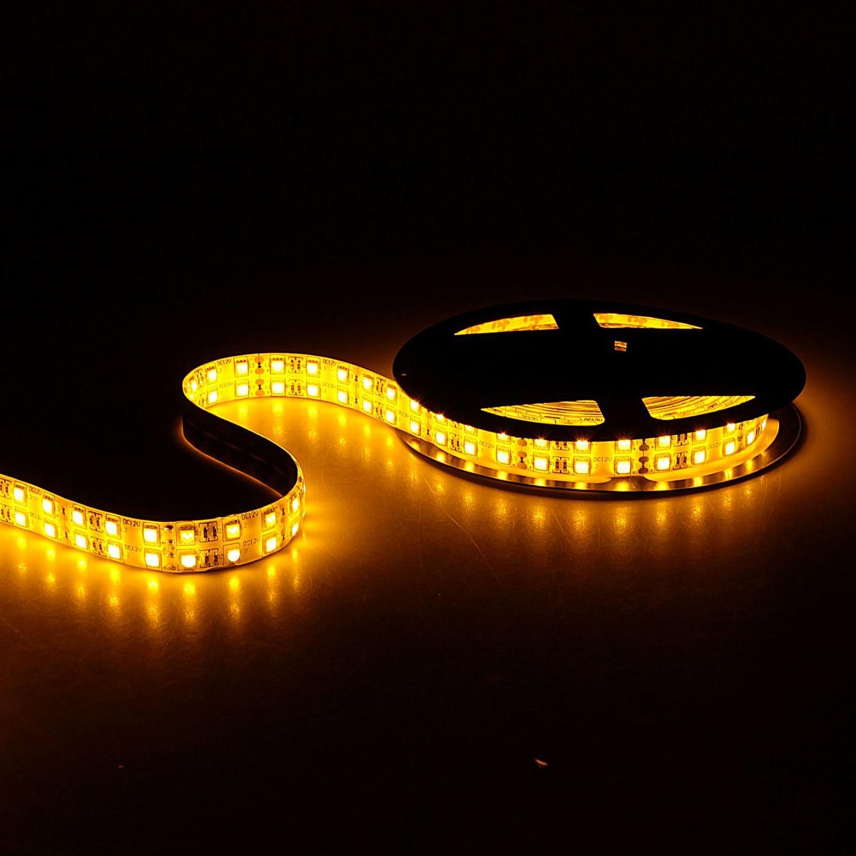 Светодиодная лента Sima-land, 12В, SMD5050, длина 5 м, IP65, 120 LED ламп, 28.8 Вт/м, 10-12 Лм/1 LED, DC, цвет: желтый848561Светодиодные гирлянды, ленты и т.д — это отличный вариант для новогоднего оформления интерьера или фасада. С их помощью помещение любого размера можно превратить в праздничный зал, а внешние элементы зданий, украшенные ими, мгновенно станут напоминать очертания сказочного дворца. Такие украшения создают ауру предвкушения чуда. Деревья, фасады, витрины, окна и арки будто специально созданы, чтобы вы украсили их светящимися нитями.