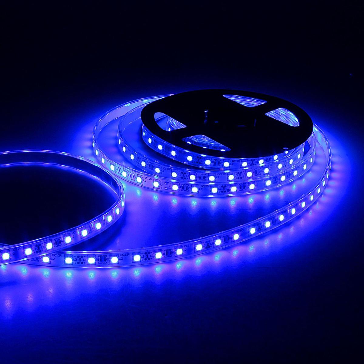 Светодиодная лента Sima-land, 12В, SMD5050, длина 5 м, IP68, 60 LED ламп, 14.4 Вт/м, 10-12 Лм/1 LED, DC, цвет: синий848572Светодиодные гирлянды, ленты и т.д — это отличный вариант для новогоднего оформления интерьера или фасада. С их помощью помещение любого размера можно превратить в праздничный зал, а внешние элементы зданий, украшенные ими, мгновенно станут напоминать очертания сказочного дворца. Такие украшения создают ауру предвкушения чуда. Деревья, фасады, витрины, окна и арки будто специально созданы, чтобы вы украсили их светящимися нитями.