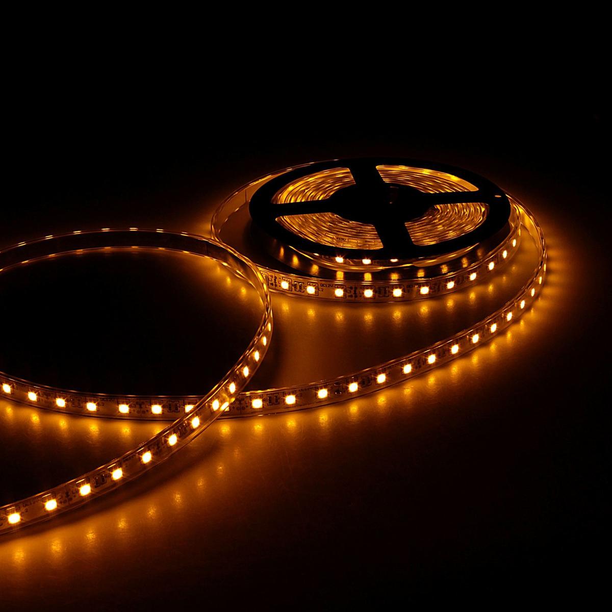 Светодиодная лента Sima-land, 12В, SMD5050, длина 5 м, IP68, 60 LED ламп, 14.4 Вт/м, 10-12 Лм/1 LED, DC, цвет: желтый848574Светодиодные гирлянды, ленты и т.д — это отличный вариант для новогоднего оформления интерьера или фасада. С их помощью помещение любого размера можно превратить в праздничный зал, а внешние элементы зданий, украшенные ими, мгновенно станут напоминать очертания сказочного дворца. Такие украшения создают ауру предвкушения чуда. Деревья, фасады, витрины, окна и арки будто специально созданы, чтобы вы украсили их светящимися нитями.