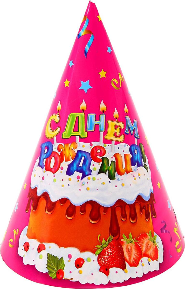 Страна Карнавалия Колпак бумажный С днем рождениятортик конфетти 6 шт 16 см 1033790 -  Колпаки и шляпы