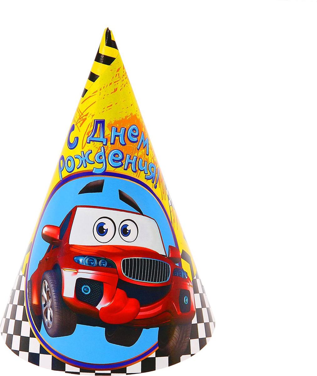 Страна Карнавалия Колпак бумажный С Днем Рождения машинка 6 шт страна карнавалия набор бумажных стаканов с днем рождения пират 6 шт