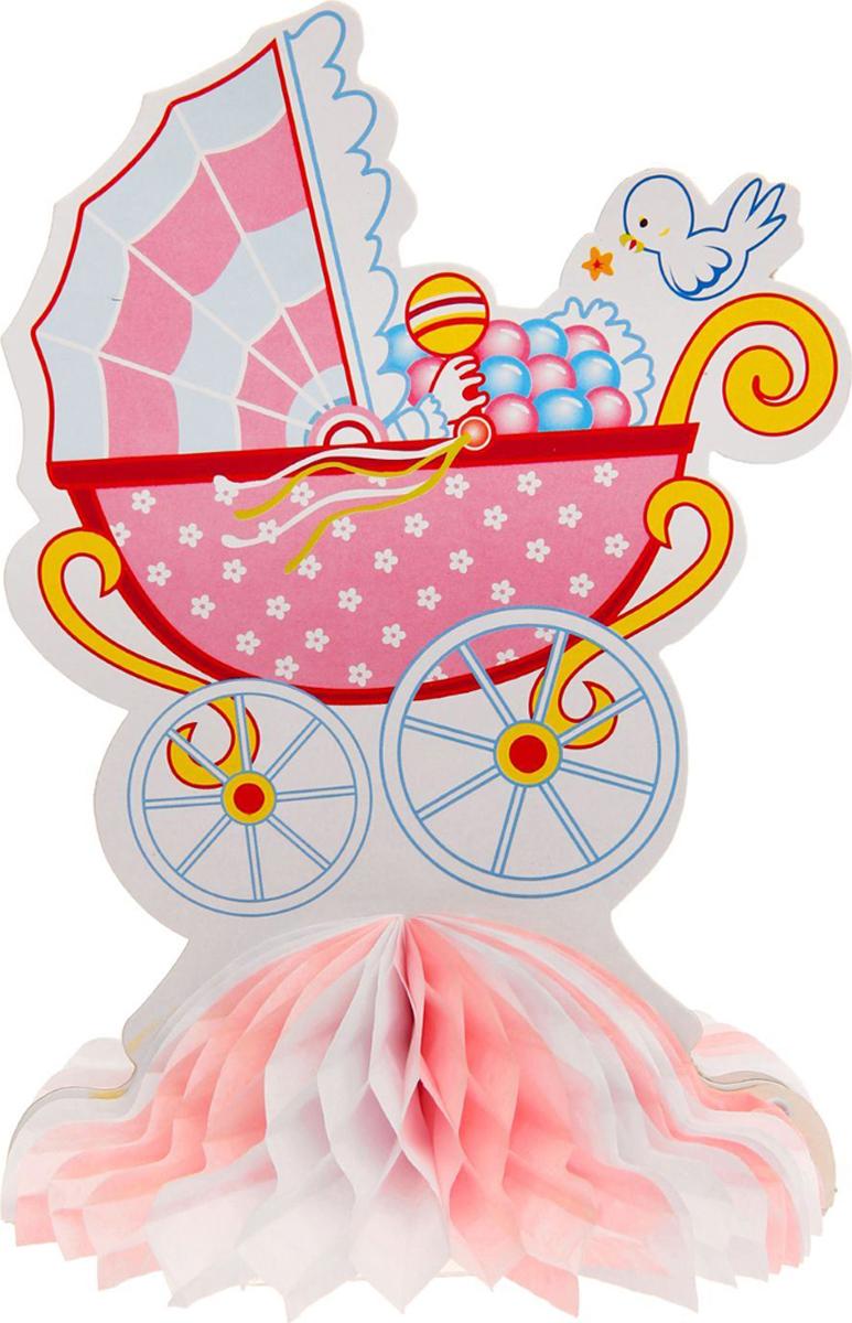 Страна Карнавалия Изделие из бумаги декор Коляска цвет розовый 1037266