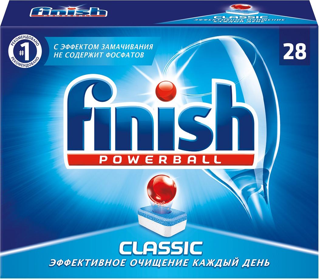 Таблетки для посудомоечной машины Finish Powerball. Classic, 28 шт21330Таблетки Finish Classic представляют собой моющий порошок, спрессованный в таблетки. Формула Powerball растворяет и размягчает трудно выводимые пятна от еды, а мощное моющее средство избавляет от остатков любой пищи. Рекомендуется дополнительно использовать Специальную Соль Finish для смягчения воды и ополаскиватель Finish для придания посуде блеска в комбинации с таблетками Finish Classic для достижения отличных результатов мытья посуды.