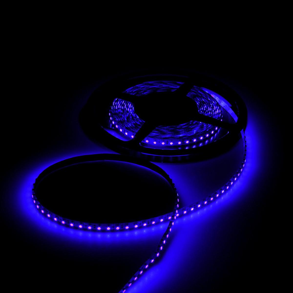 Лента светодиодная Luazon, 12В, SMD3528, длина 5 м, IP68, 60 LED ламп, 4.8 Вт/м, 6-7 Лм/1 LED, DC, цвет: синий. 883888