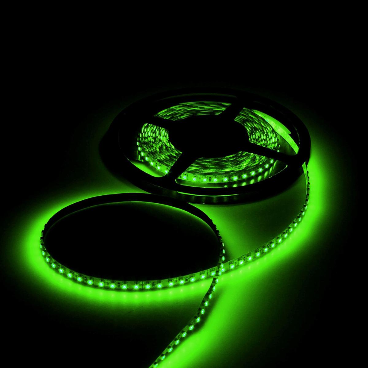 Светодиодная лента Luazon, 12В, SMD3528, длина 5 м, IP33, 120 LED ламп, 9.6 Вт/м, 6-7 Лм/1 LED, DC, цвет: зеленый. 883897