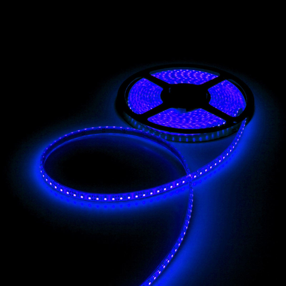 Светодиодная лента Luazon, 12В, SMD3528, длина 5 м, IP68, 120 LED ламп, 9.6 Вт/м, 6-7 Лм/1 LED, DC, цвет: синий883910Светодиодные гирлянды, ленты и т.д — это отличный вариант для новогоднего оформления интерьера или фасада. С их помощью помещение любого размера можно превратить в праздничный зал, а внешние элементы зданий, украшенные ими, мгновенно станут напоминать очертания сказочного дворца. Такие украшения создают ауру предвкушения чуда. Деревья, фасады, витрины, окна и арки будто специально созданы, чтобы вы украсили их светящимися нитями.