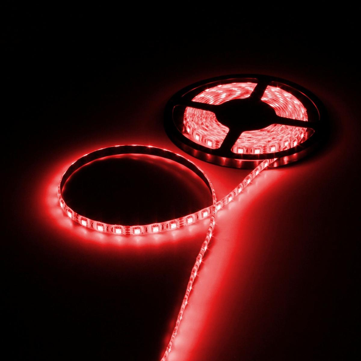Светодиодная лента Luazon, 12В, SMD5050, длина 5 м, IP65, 60 LED ламп, 14.4 Вт/м, 14-16 Лм/1 LED, DC, цвет: красный883947Светодиодные гирлянды, ленты и т.д — это отличный вариант для новогоднего оформления интерьера или фасада. С их помощью помещение любого размера можно превратить в праздничный зал, а внешние элементы зданий, украшенные ими, мгновенно станут напоминать очертания сказочного дворца. Такие украшения создают ауру предвкушения чуда. Деревья, фасады, витрины, окна и арки будто специально созданы, чтобы вы украсили их светящимися нитями.