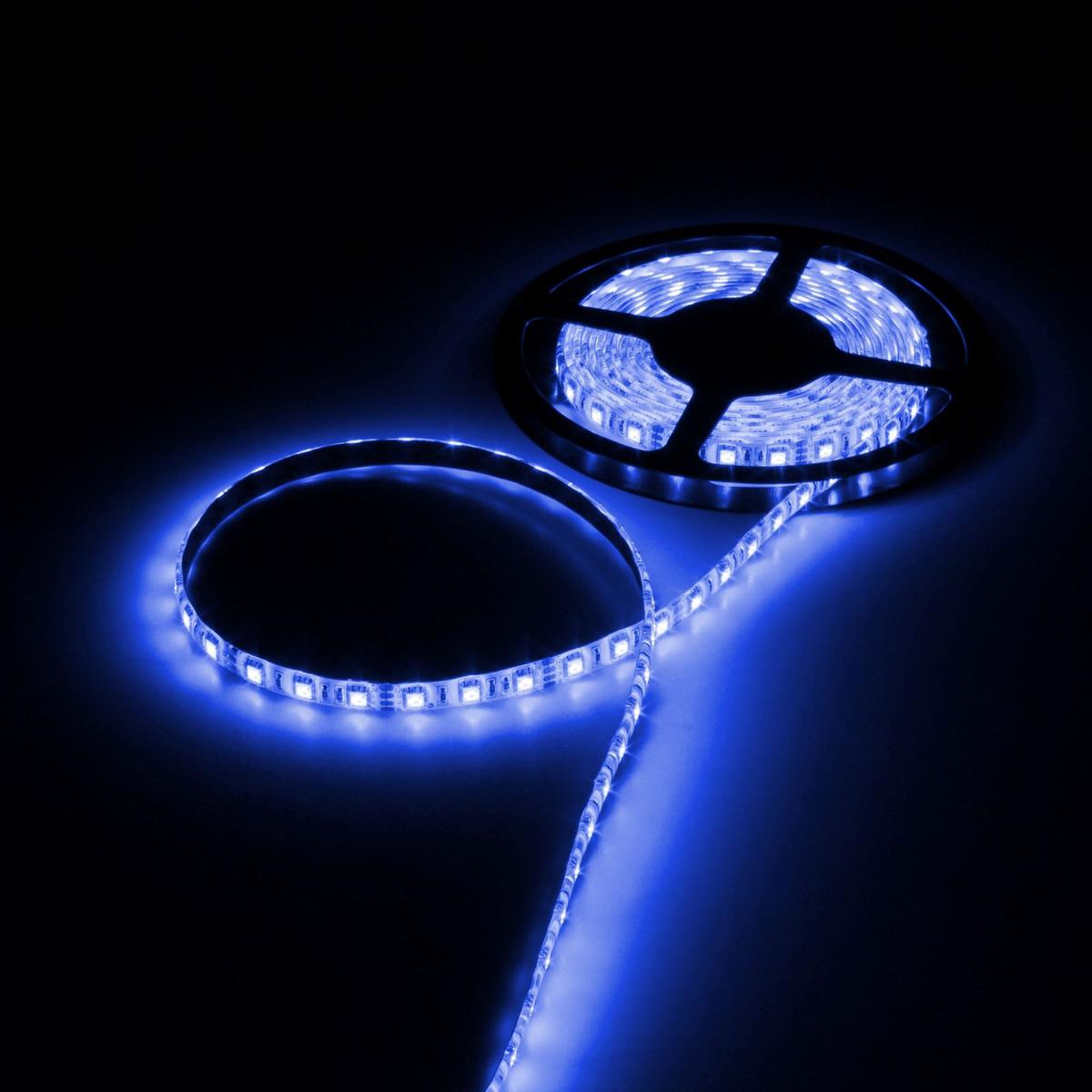 Светодиодная лента Luazon, 12В, SMD5050, длина 5 м, IP65, 60 LED ламп, 14.4 Вт/м, 14-16 Лм/1 LED, DC, цвет: синий883949Светодиодные гирлянды, ленты и т.д — это отличный вариант для новогоднего оформления интерьера или фасада. С их помощью помещение любого размера можно превратить в праздничный зал, а внешние элементы зданий, украшенные ими, мгновенно станут напоминать очертания сказочного дворца. Такие украшения создают ауру предвкушения чуда. Деревья, фасады, витрины, окна и арки будто специально созданы, чтобы вы украсили их светящимися нитями.