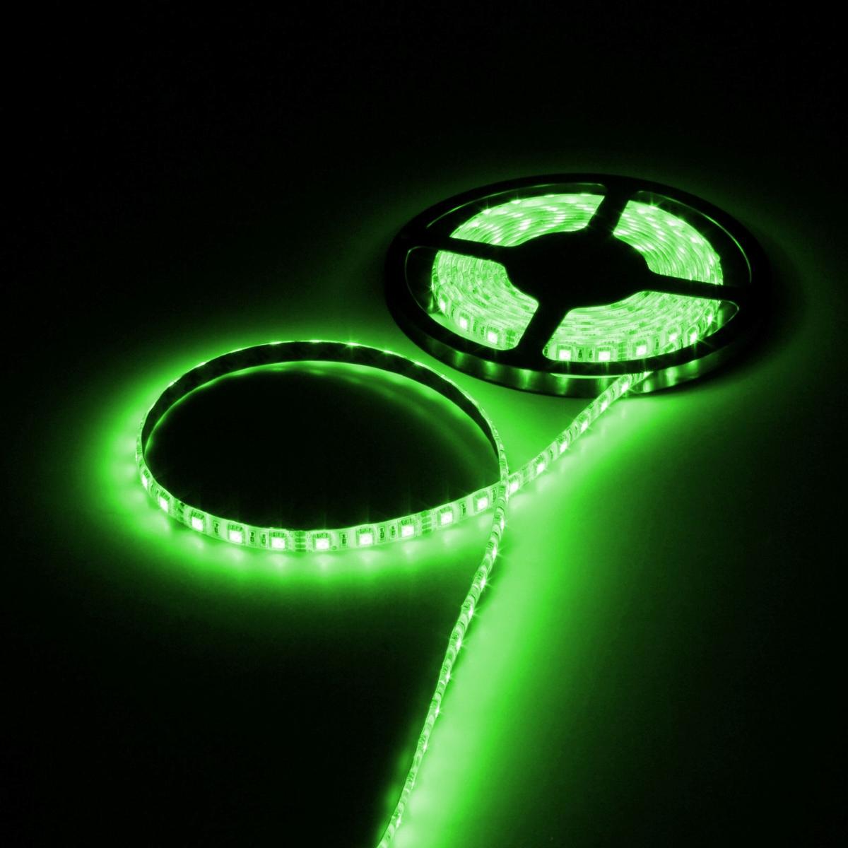 Светодиодная лента Luazon, 12В, SMD5050, длина 5 м, IP65, 60 LED ламп, 14.4 Вт/м, 14-16 Лм/1 LED, DC, цвет: зеленый883950Светодиодные гирлянды, ленты и т.д — это отличный вариант для новогоднего оформления интерьера или фасада. С их помощью помещение любого размера можно превратить в праздничный зал, а внешние элементы зданий, украшенные ими, мгновенно станут напоминать очертания сказочного дворца. Такие украшения создают ауру предвкушения чуда. Деревья, фасады, витрины, окна и арки будто специально созданы, чтобы вы украсили их светящимися нитями.