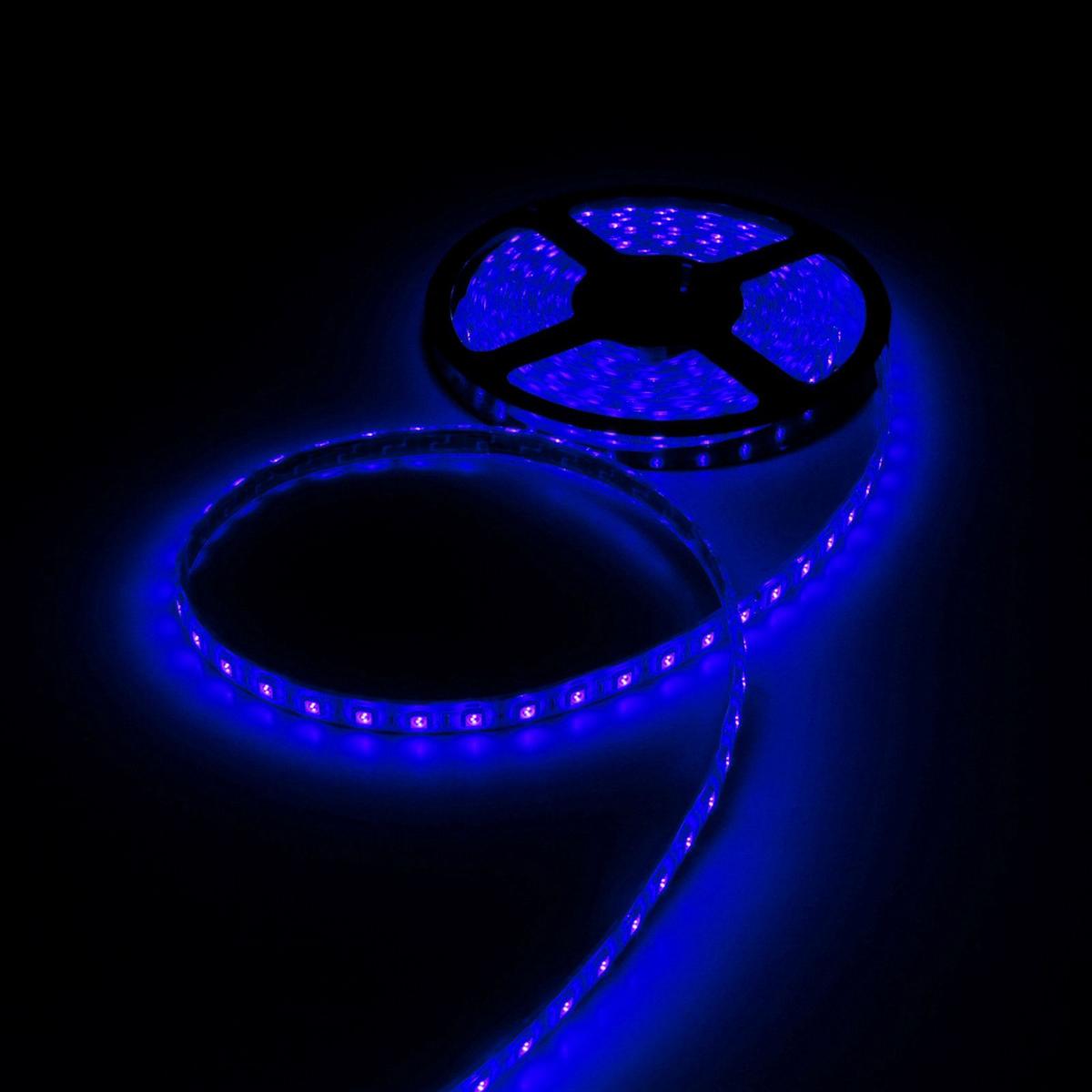 Светодиодная лента Luazon, 12В, SMD5050, длина 5 м, IP68, 60 LED ламп, 14.4 Вт/м, 14-16 Лм/1 LED, DC, цвет: синий883957Светодиодные гирлянды, ленты и т.д — это отличный вариант для новогоднего оформления интерьера или фасада. С их помощью помещение любого размера можно превратить в праздничный зал, а внешние элементы зданий, украшенные ими, мгновенно станут напоминать очертания сказочного дворца. Такие украшения создают ауру предвкушения чуда. Деревья, фасады, витрины, окна и арки будто специально созданы, чтобы вы украсили их светящимися нитями.