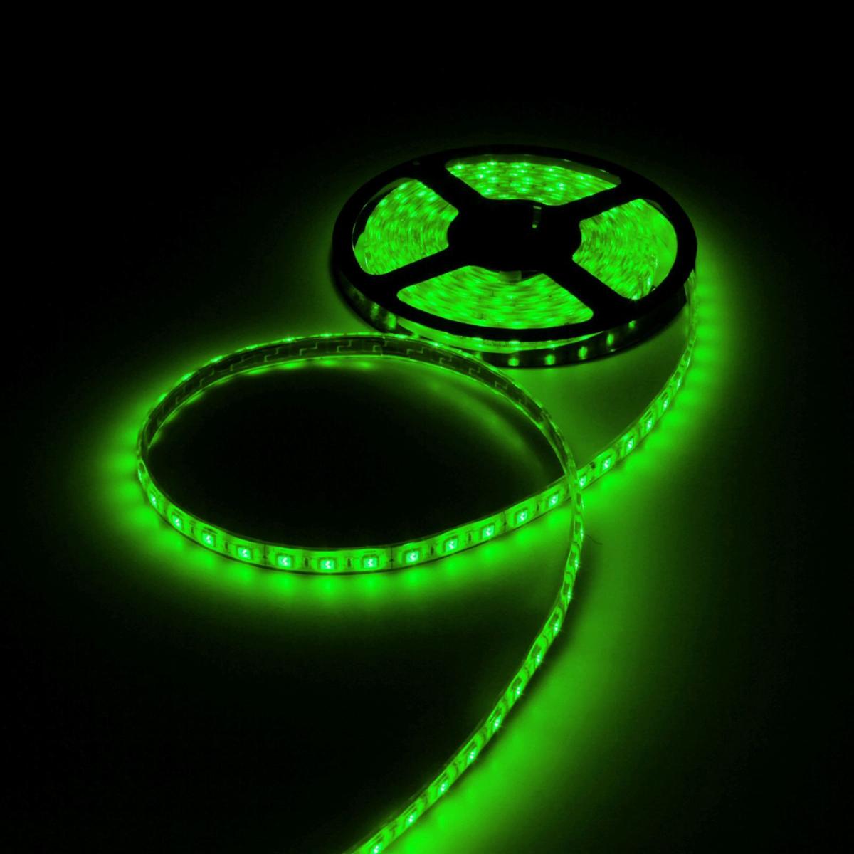 Светодиодная лента Luazon, 12В, SMD5050, длина 5 м, IP68, 60 LED ламп, 14.4 Вт/м, 14-16 Лм/1 LED, DC, цвет: зеленый883958Светодиодные гирлянды, ленты и т.д — это отличный вариант для новогоднего оформления интерьера или фасада. С их помощью помещение любого размера можно превратить в праздничный зал, а внешние элементы зданий, украшенные ими, мгновенно станут напоминать очертания сказочного дворца. Такие украшения создают ауру предвкушения чуда. Деревья, фасады, витрины, окна и арки будто специально созданы, чтобы вы украсили их светящимися нитями.
