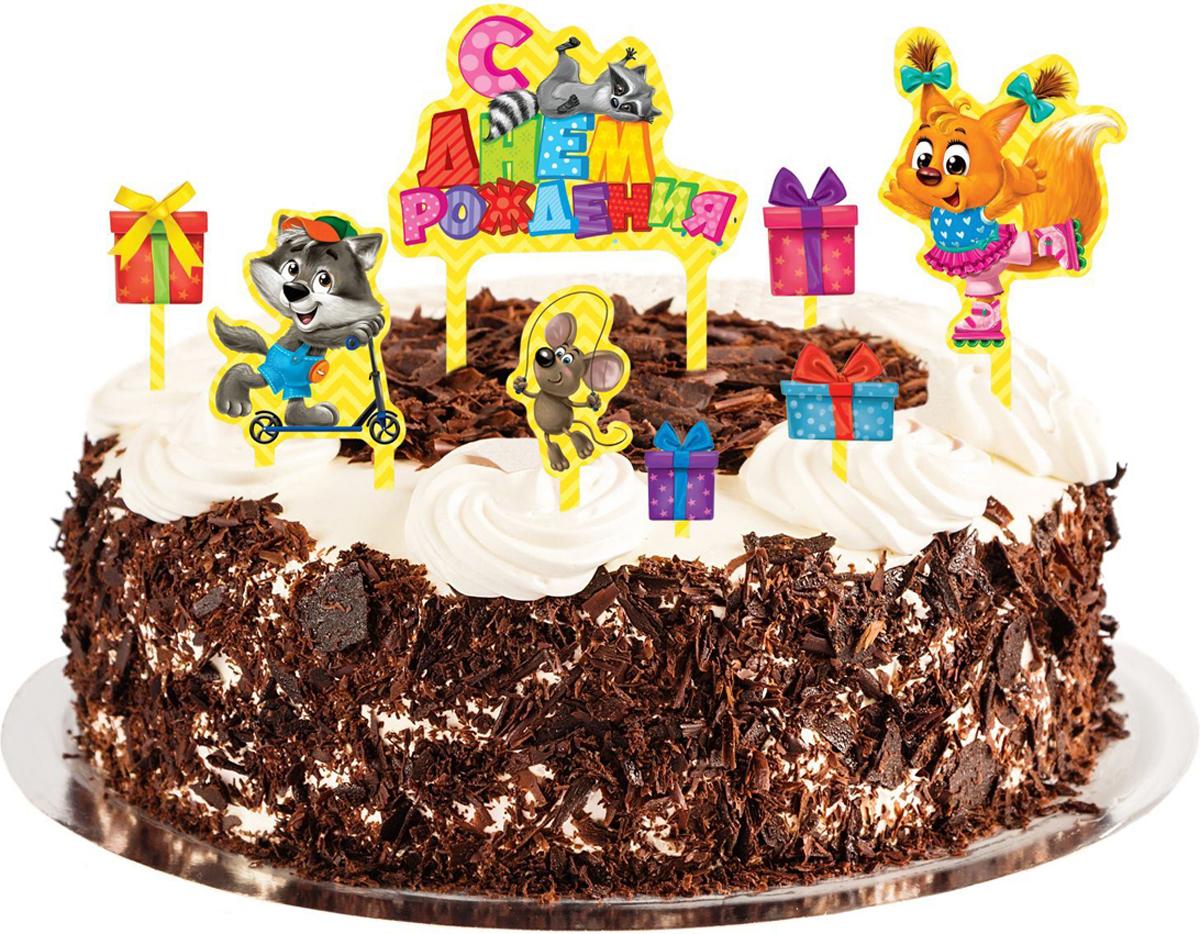 Фото Страна Карнавалия Набор для украшения торта С днем рождения Зверята 1283135