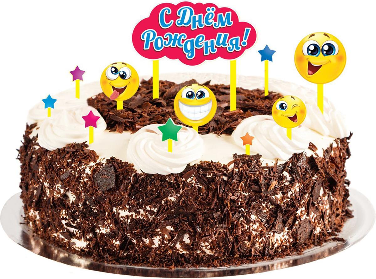 Страна Карнавалия Набор для украшения торта С днем рождения смайлики 1283137