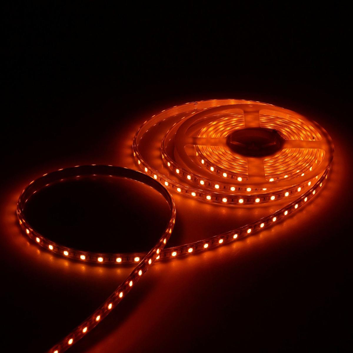 Светодиодная лента Luazon, 220В, SMD3528, длина 5 м, IP65, 60 LED ламп, 3.3 Вт/м, 6-7 Лм/1 LED, AC, цвет: красный883963Светодиодные гирлянды, ленты и т.д — это отличный вариант для новогоднего оформления интерьера или фасада. С их помощью помещение любого размера можно превратить в праздничный зал, а внешние элементы зданий, украшенные ими, мгновенно станут напоминать очертания сказочного дворца. Такие украшения создают ауру предвкушения чуда. Деревья, фасады, витрины, окна и арки будто специально созданы, чтобы вы украсили их светящимися нитями.