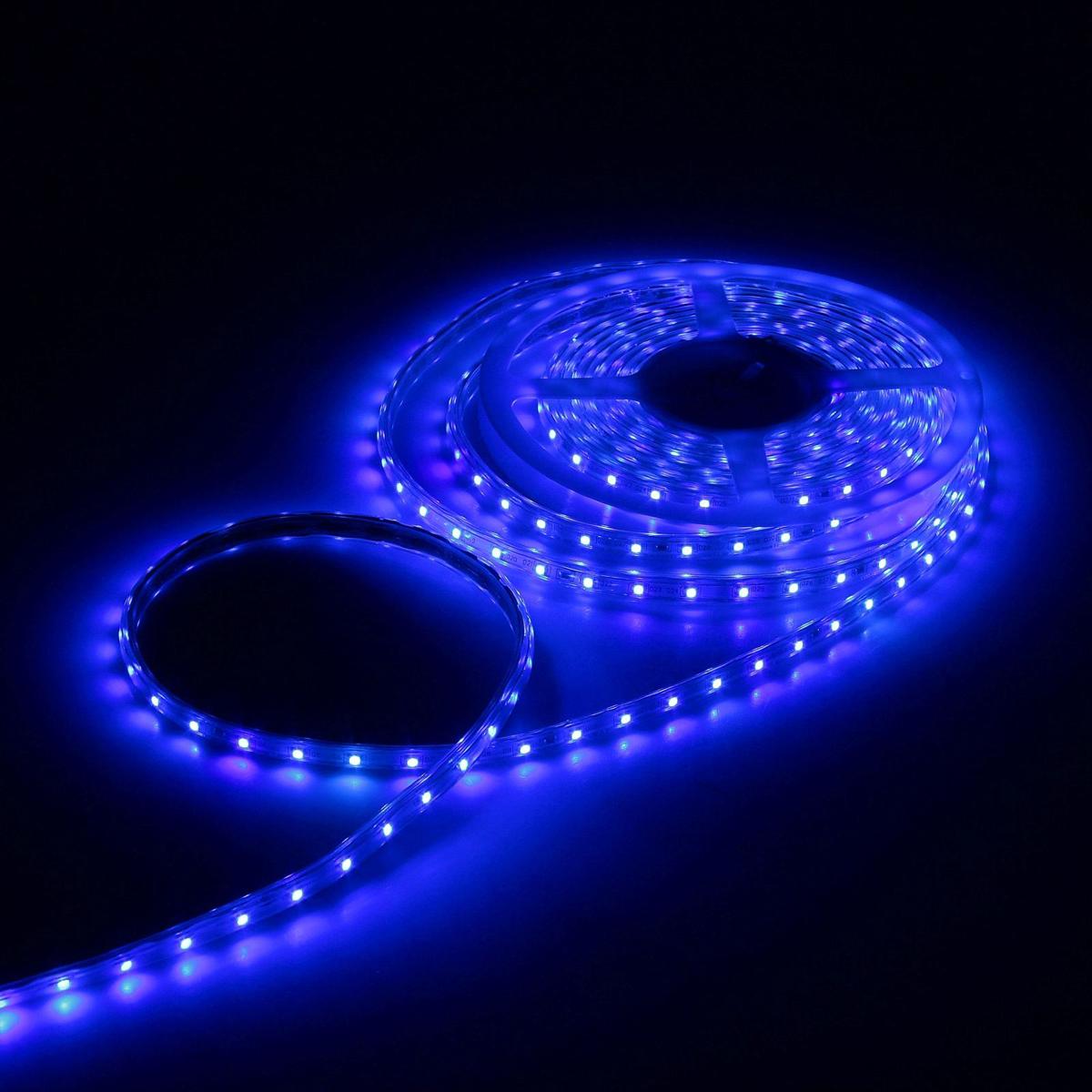 Светодиодная лента Luazon, 220В, SMD3528, длина 5 м, IP65, 60 LED ламп, 3.3 Вт/м, 6-7 Лм/1 LED, AC, цвет: синий883965Светодиодные гирлянды, ленты и т.д — это отличный вариант для новогоднего оформления интерьера или фасада. С их помощью помещение любого размера можно превратить в праздничный зал, а внешние элементы зданий, украшенные ими, мгновенно станут напоминать очертания сказочного дворца. Такие украшения создают ауру предвкушения чуда. Деревья, фасады, витрины, окна и арки будто специально созданы, чтобы вы украсили их светящимися нитями.