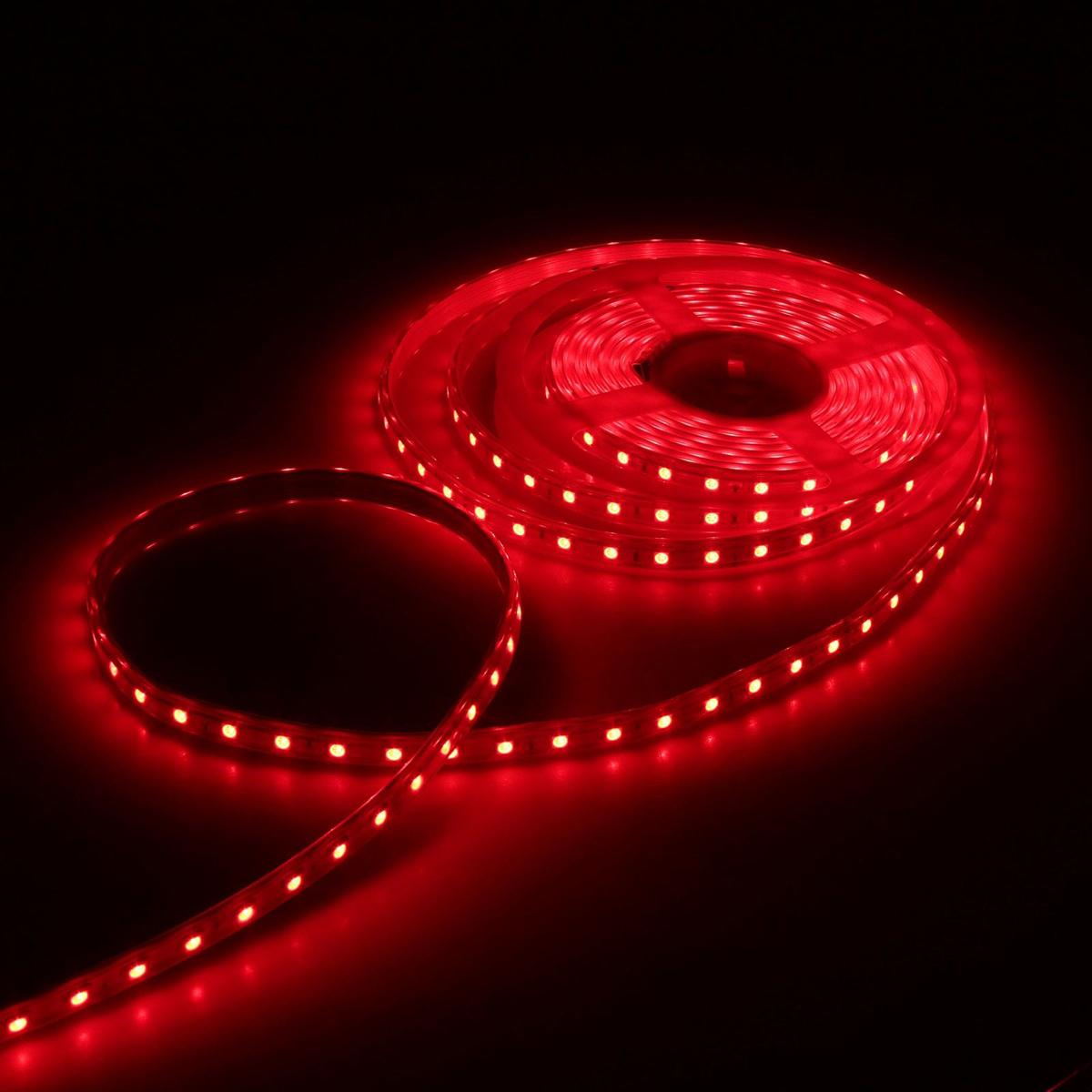 Светодиодная лента Luazon, 220В, SMD5050, длина 5 м, IP65, 60 LED ламп, 11 Вт/м, 16-18 Лм/1 LED, AC, цвет: красный883970Светодиодные гирлянды, ленты и т.д — это отличный вариант для новогоднего оформления интерьера или фасада. С их помощью помещение любого размера можно превратить в праздничный зал, а внешние элементы зданий, украшенные ими, мгновенно станут напоминать очертания сказочного дворца. Такие украшения создают ауру предвкушения чуда. Деревья, фасады, витрины, окна и арки будто специально созданы, чтобы вы украсили их светящимися нитями.