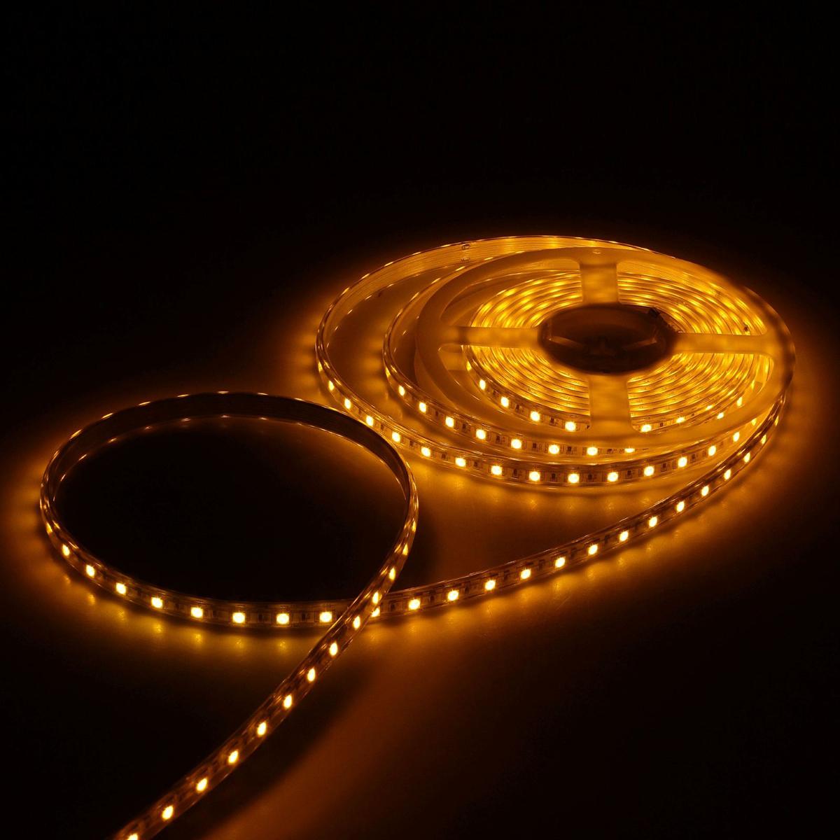 Светодиодная лента Luazon, 220В, SMD5050, длина 5 м, IP65, 60 LED ламп, 11 Вт/м, 16-18 Лм/1 LED, AC, цвет: желтый883971Светодиодные гирлянды, ленты и т.д — это отличный вариант для новогоднего оформления интерьера или фасада. С их помощью помещение любого размера можно превратить в праздничный зал, а внешние элементы зданий, украшенные ими, мгновенно станут напоминать очертания сказочного дворца. Такие украшения создают ауру предвкушения чуда. Деревья, фасады, витрины, окна и арки будто специально созданы, чтобы вы украсили их светящимися нитями.