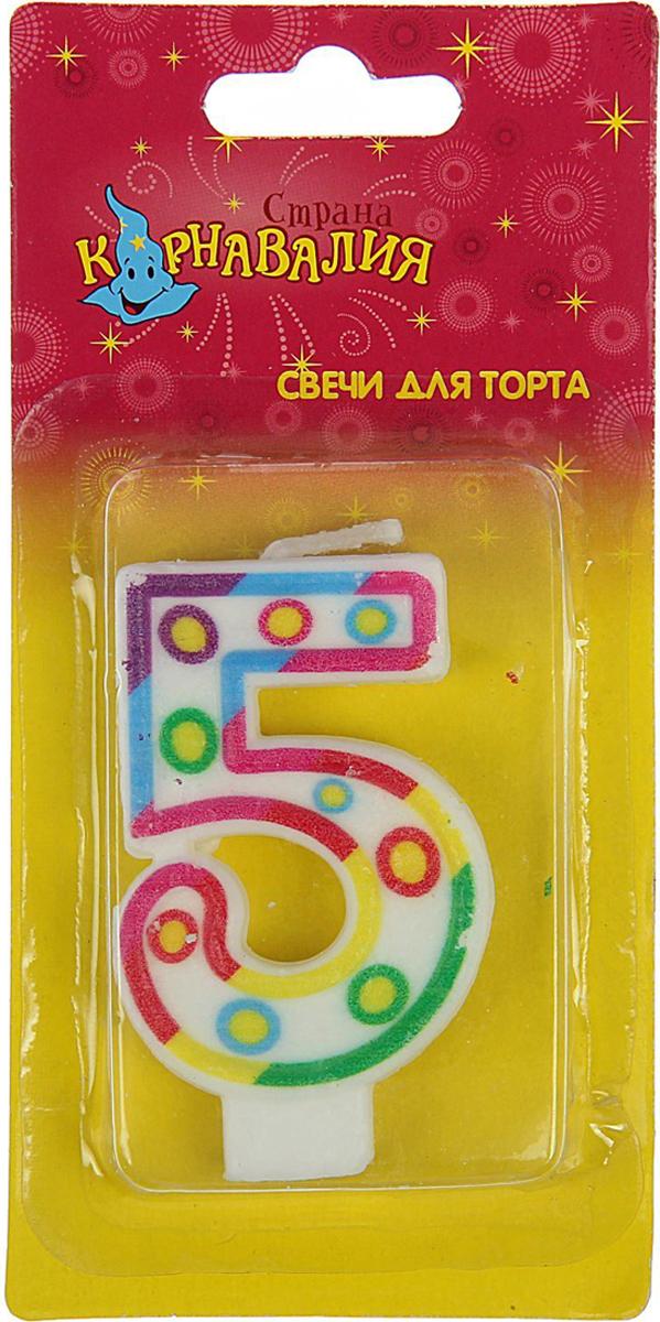 Страна Карнавалия Свеча воск для торта цифра 5 кружочки 1410877