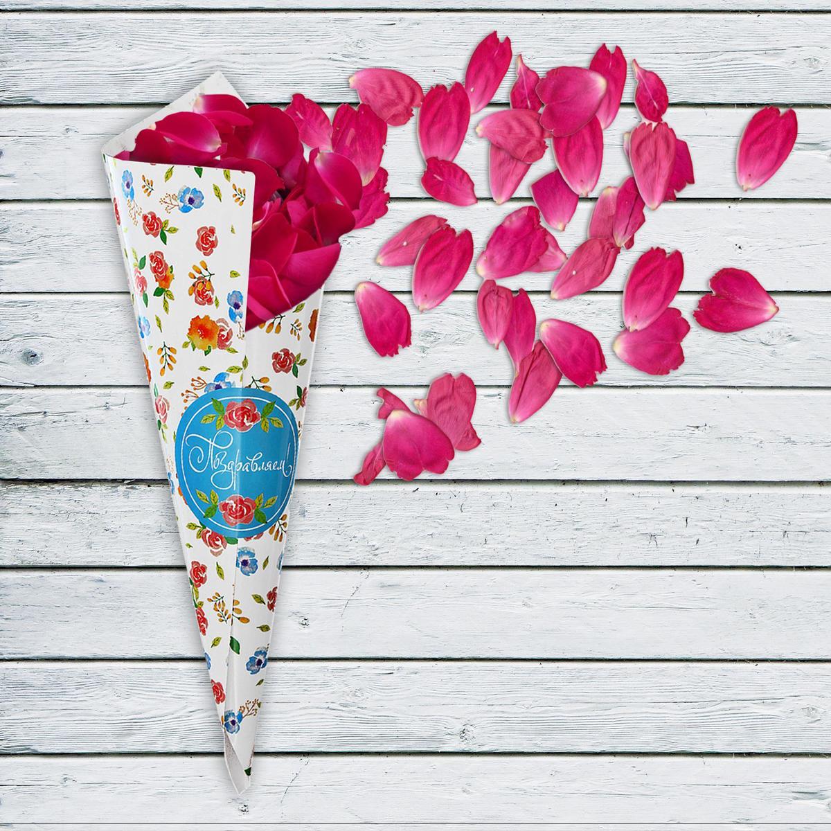 Страна Карнавалия Кулек для праздника Поздравляем Цветы с наклейкой 6 шт