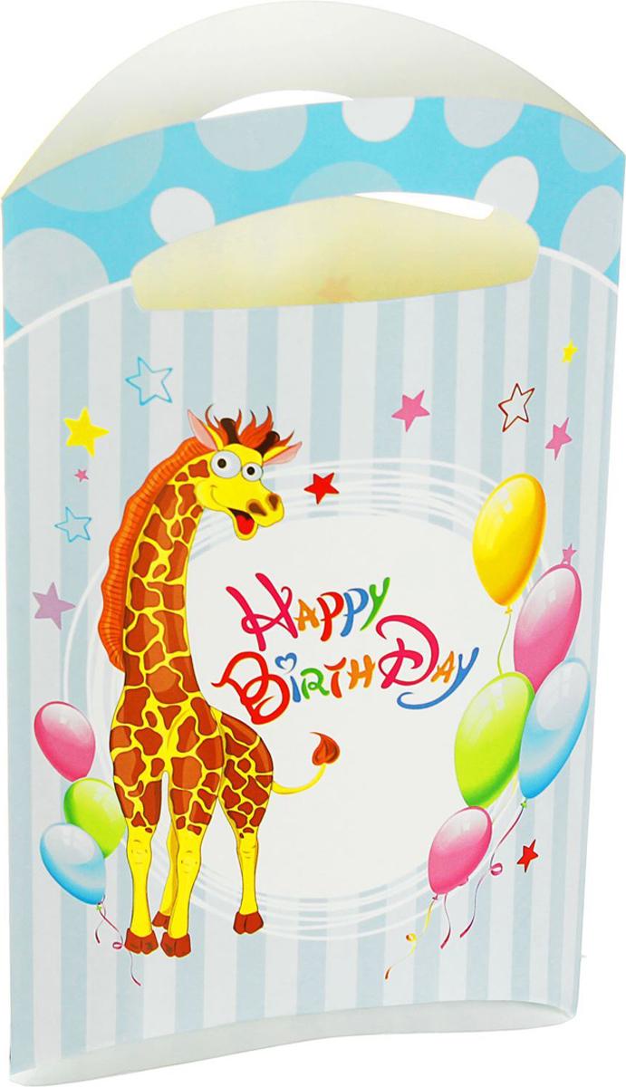 Страна Карнавалия Пакет подарочный Жирафик голубой цвет 14 x 24 см 6 шт 1652847 -  Подарочная упаковка