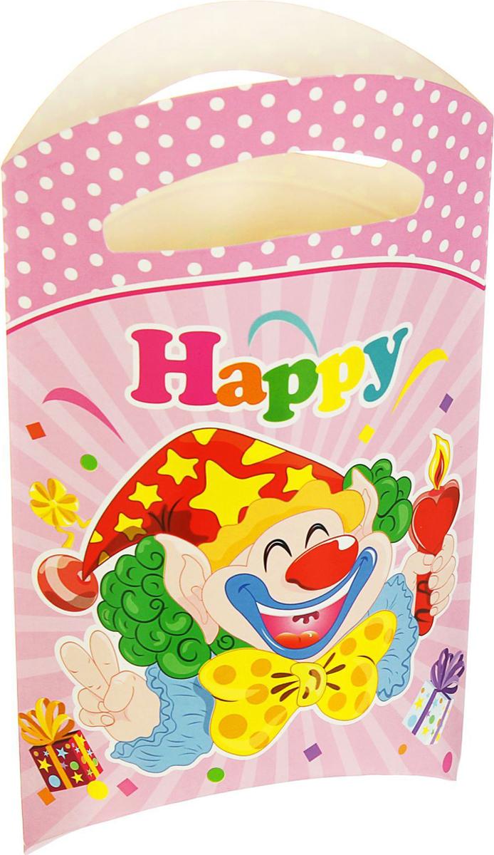 Страна Карнавалия Пакет подарочный Клоун со свечой цвет розовый 14 x 24 см 6 шт 1652850 -  Подарочная упаковка