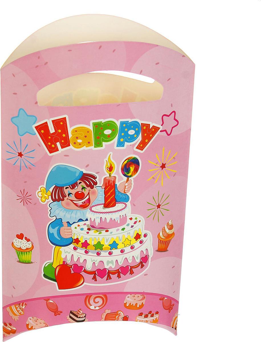 Страна Карнавалия Пакет подарочный Клоун с тортом цвет розовый 14 x 24 см 6 шт 1652852