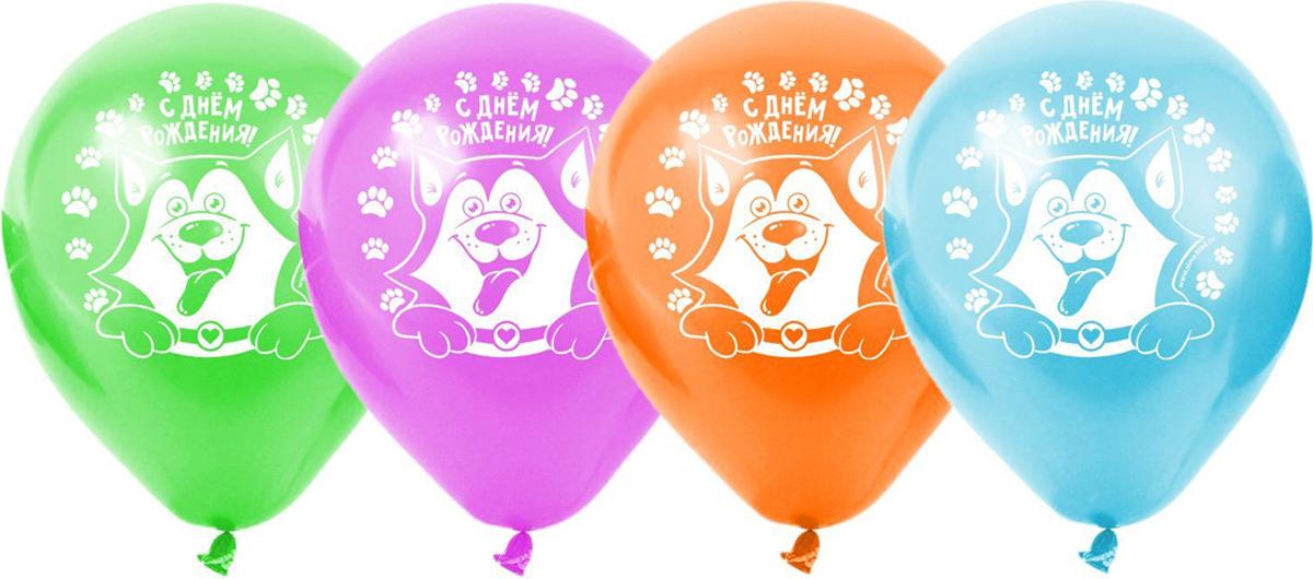 Страна Карнавалия Шар латексный 12 дюймов С Днем Рождения собачка набор 5 шт 1738628