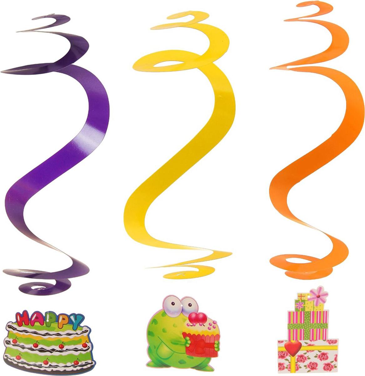 Страна Карнавалия Спираль День Рождения! набор 3 шт 302221 -  Серпантин