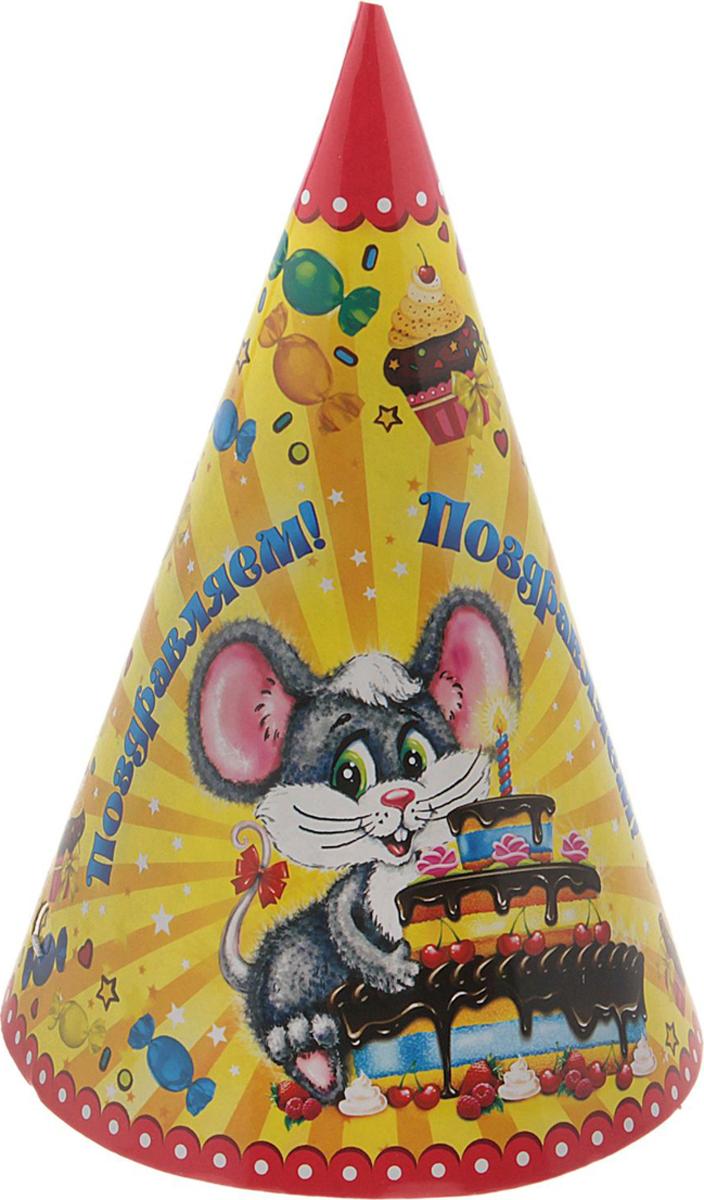 Страна Карнавалия Колпак Поздравляем! Мышка с тортиком 16 см, 6 шт 326460 декоративные колпаки на штампованные колеса 16