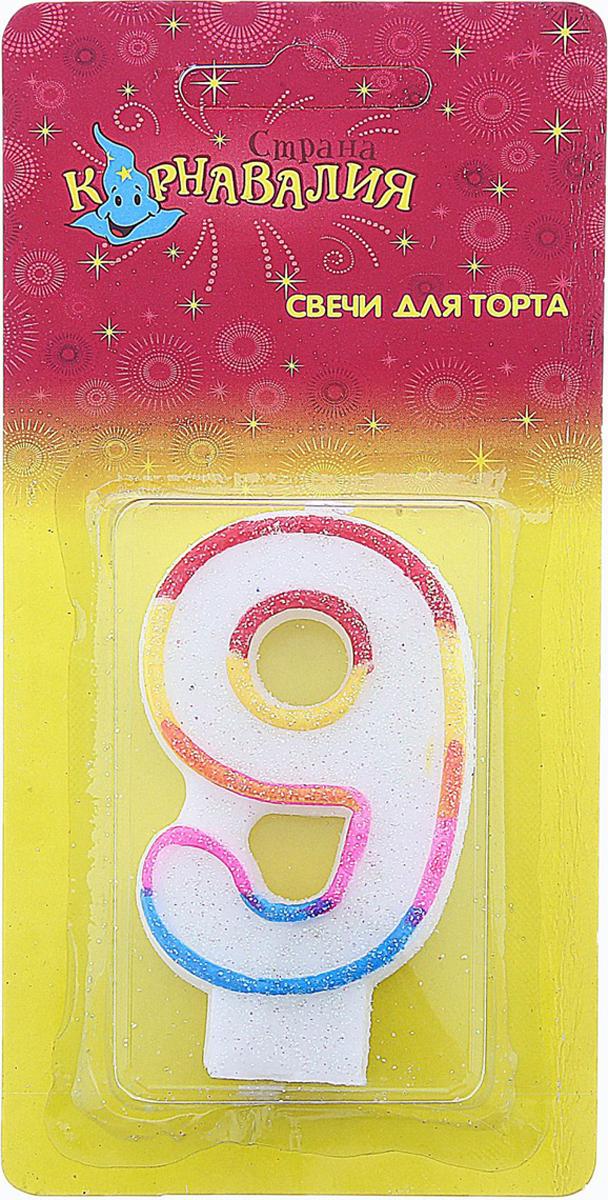 Страна Карнавалия Свеча воск для торта цифра 9 ободок радуга блестка 403539