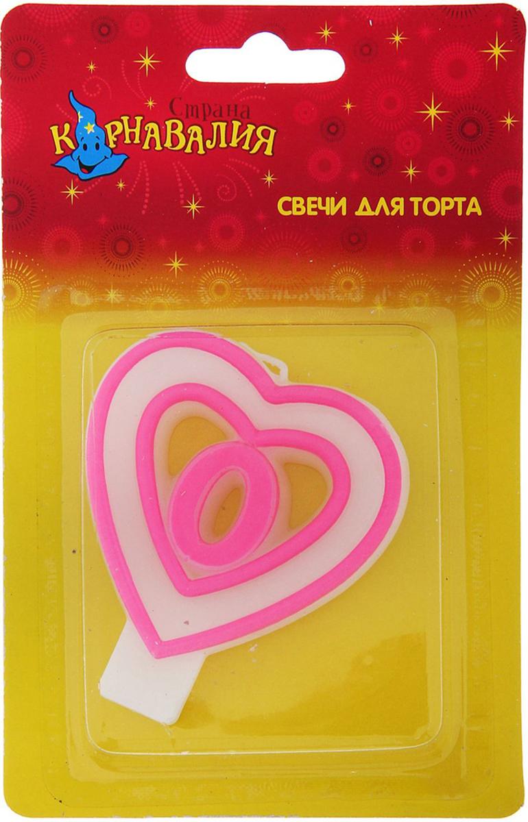 Страна Карнавалия Свеча воск для торта цифра 0 двойное сердце 635635