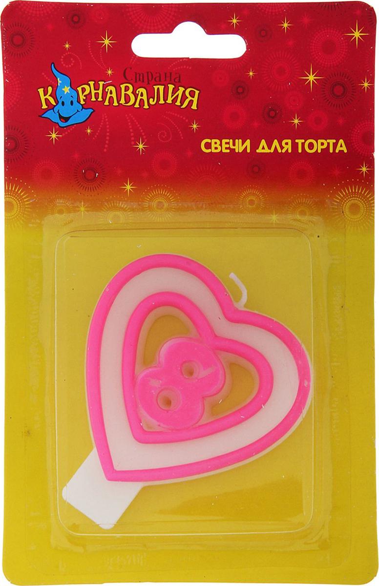 Страна Карнавалия Свеча воск для торта цифра 8 двойное сердце 635643