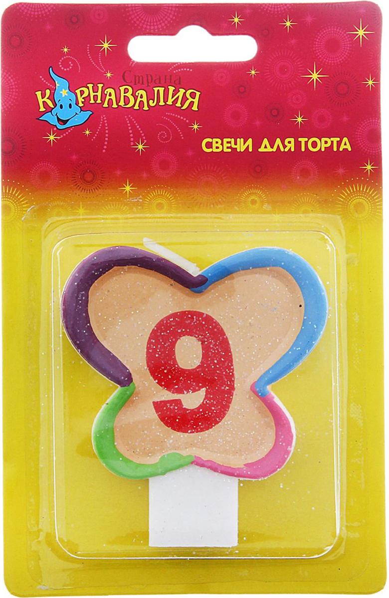 Страна Карнавалия Свеча воск для торта цифра 9 бабочка блестка 635664
